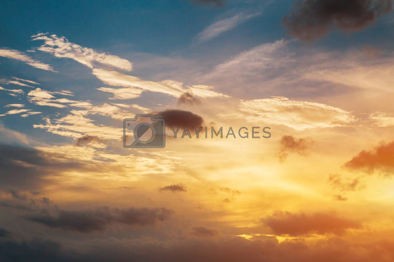 Sky nature on sunset aerial view above clouds with dramatic light