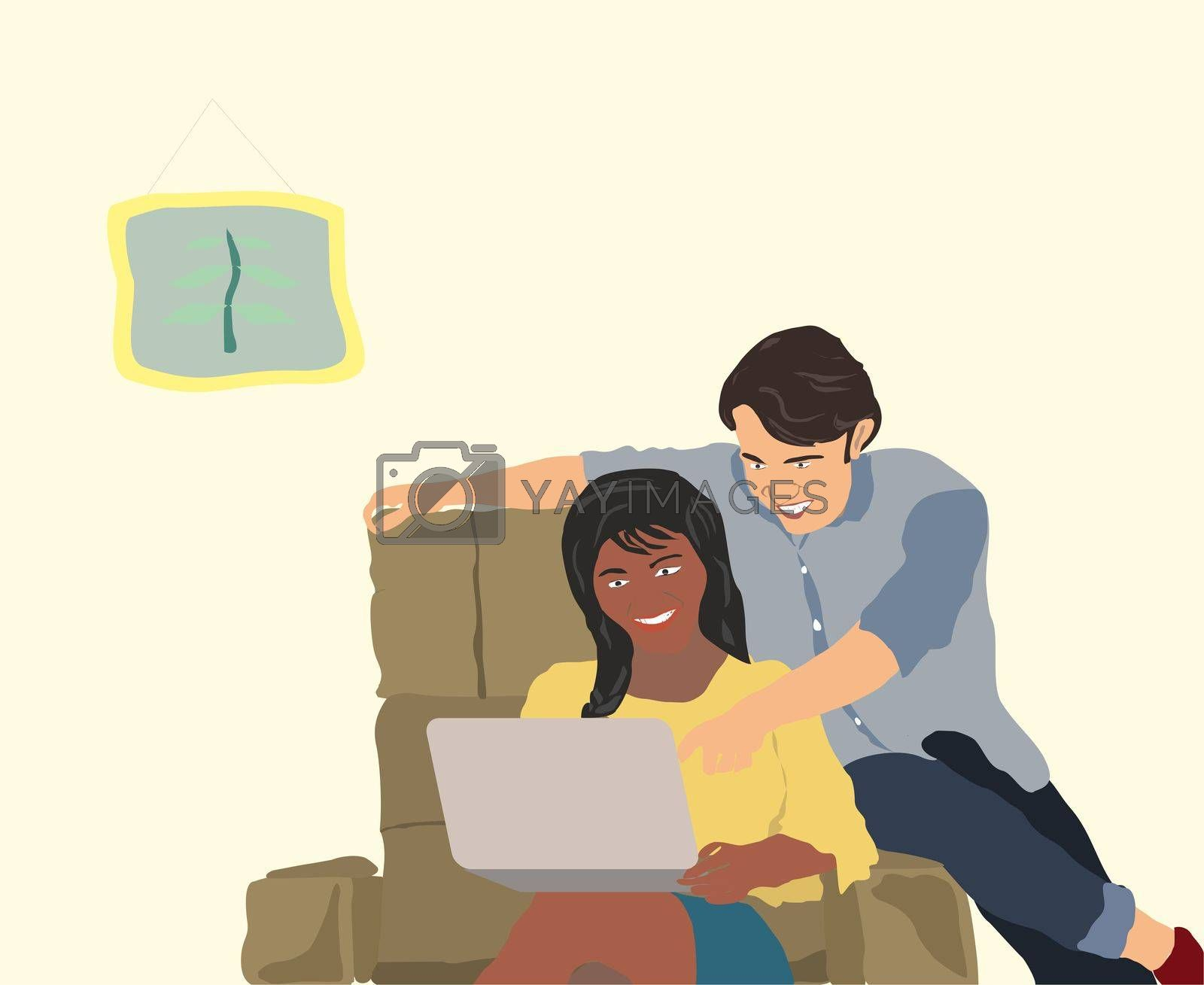 Couple At Home In Living Room Using Laptop