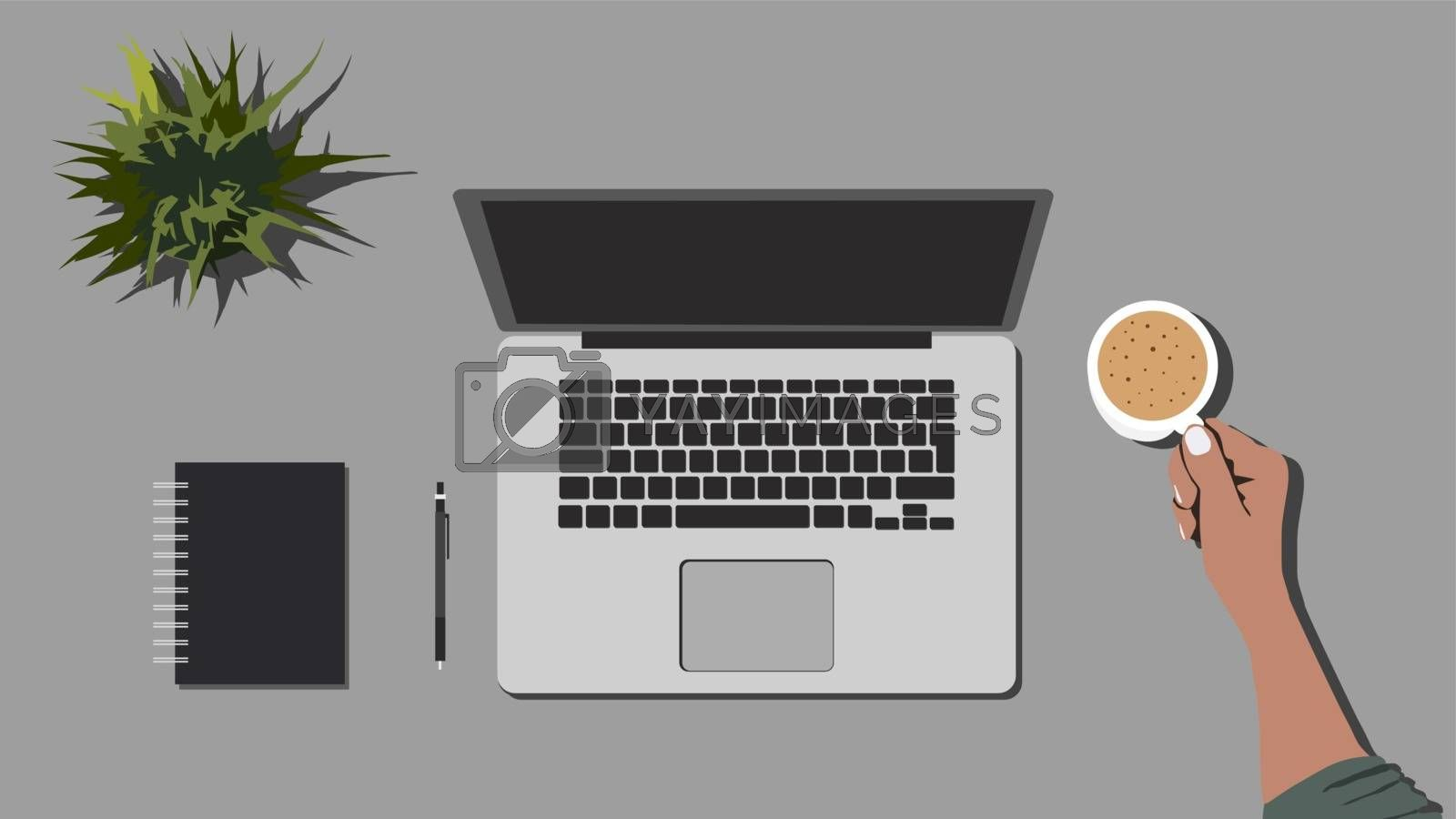 Top view of freelance workplace. Laptop, diary, pen, plant and cup of coffee. Man's hands holding cup of coffee.