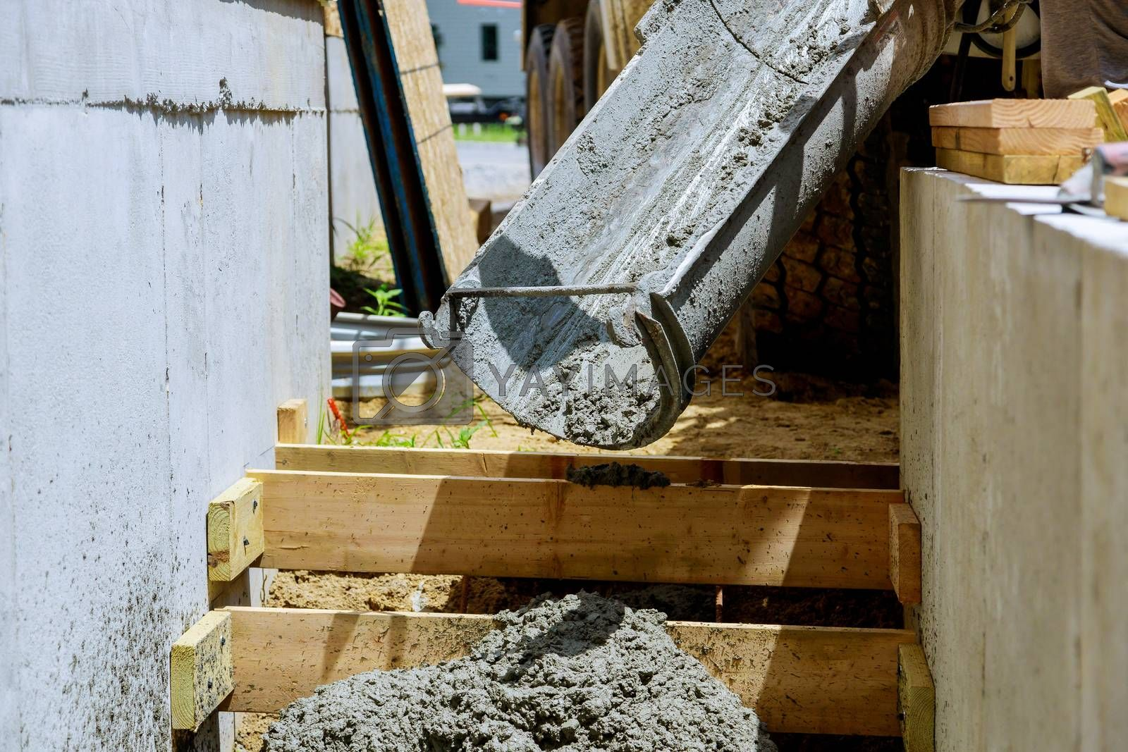 Formwork in pouring staircase cement concrete structure in residential house building of construction