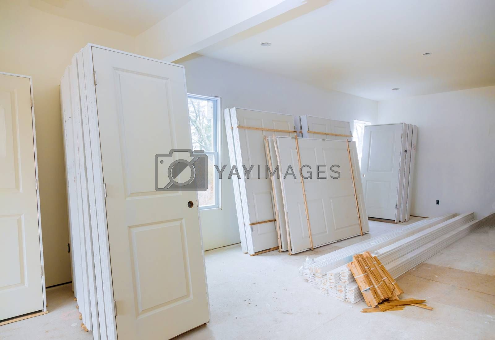 Construction of new house for the in a room waiting for installation interior doors