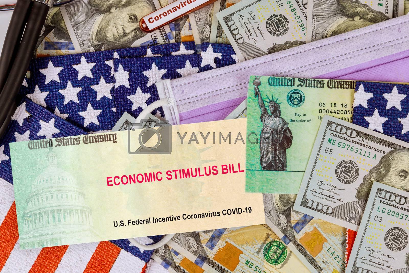 Covid 19 lockdown stimulus bill Global pandemic US dollar cash banknote on American flag