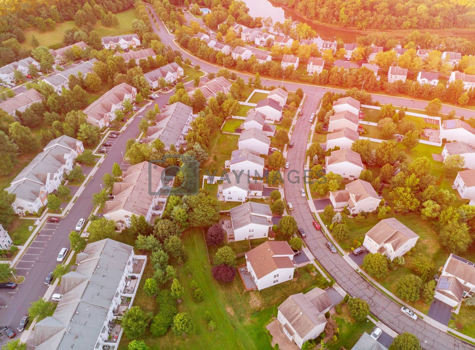 Aerial view from a drone from a height view low rise houses of the village of America