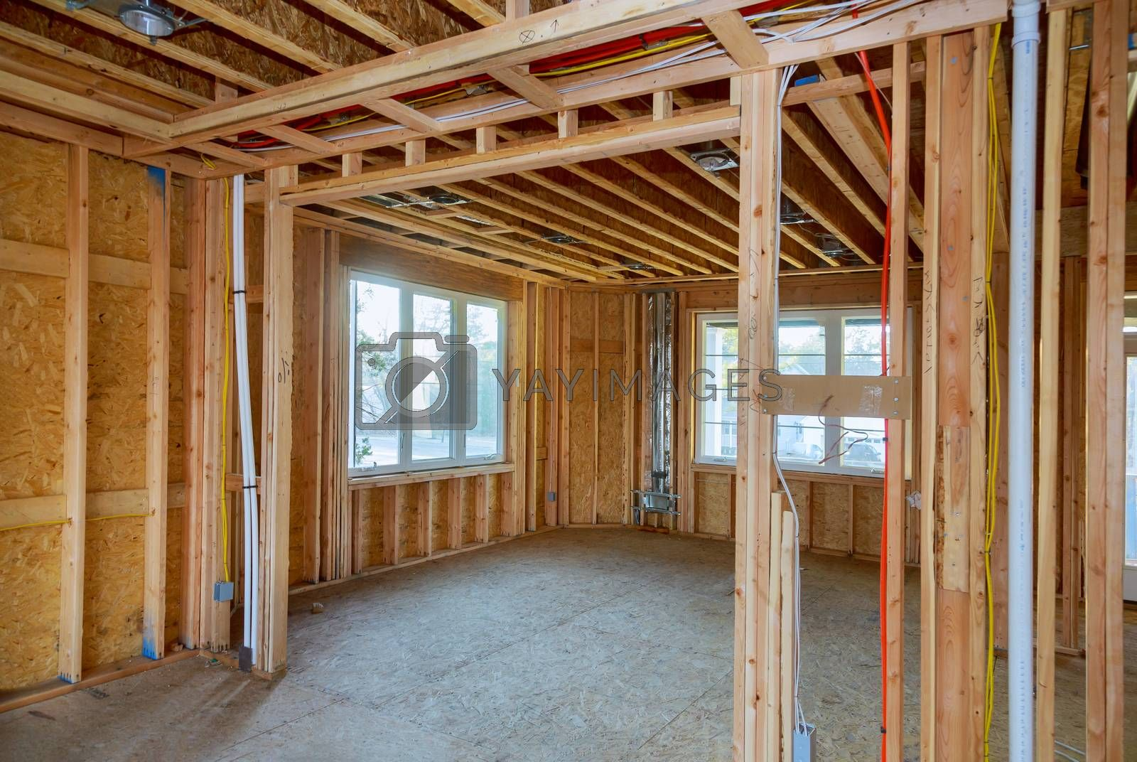 House in American beams the view of interior of frame under construction residential home