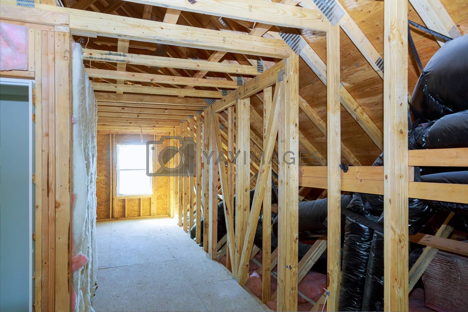 Thermal insulation in process of attic construction frame house a newly constructed home
