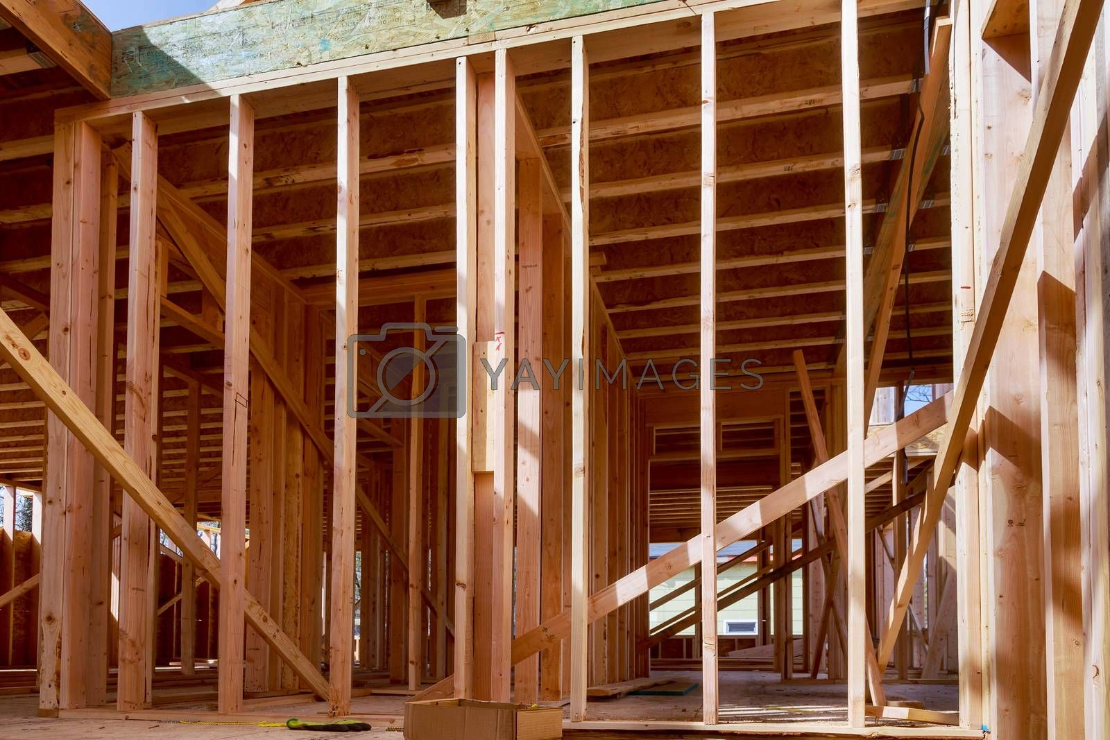 Beams the walls frame home under construction residential house in American