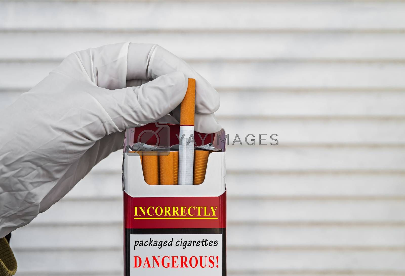 Example of improperly packaged cigarettes that can smoker with a virus or bacterium
