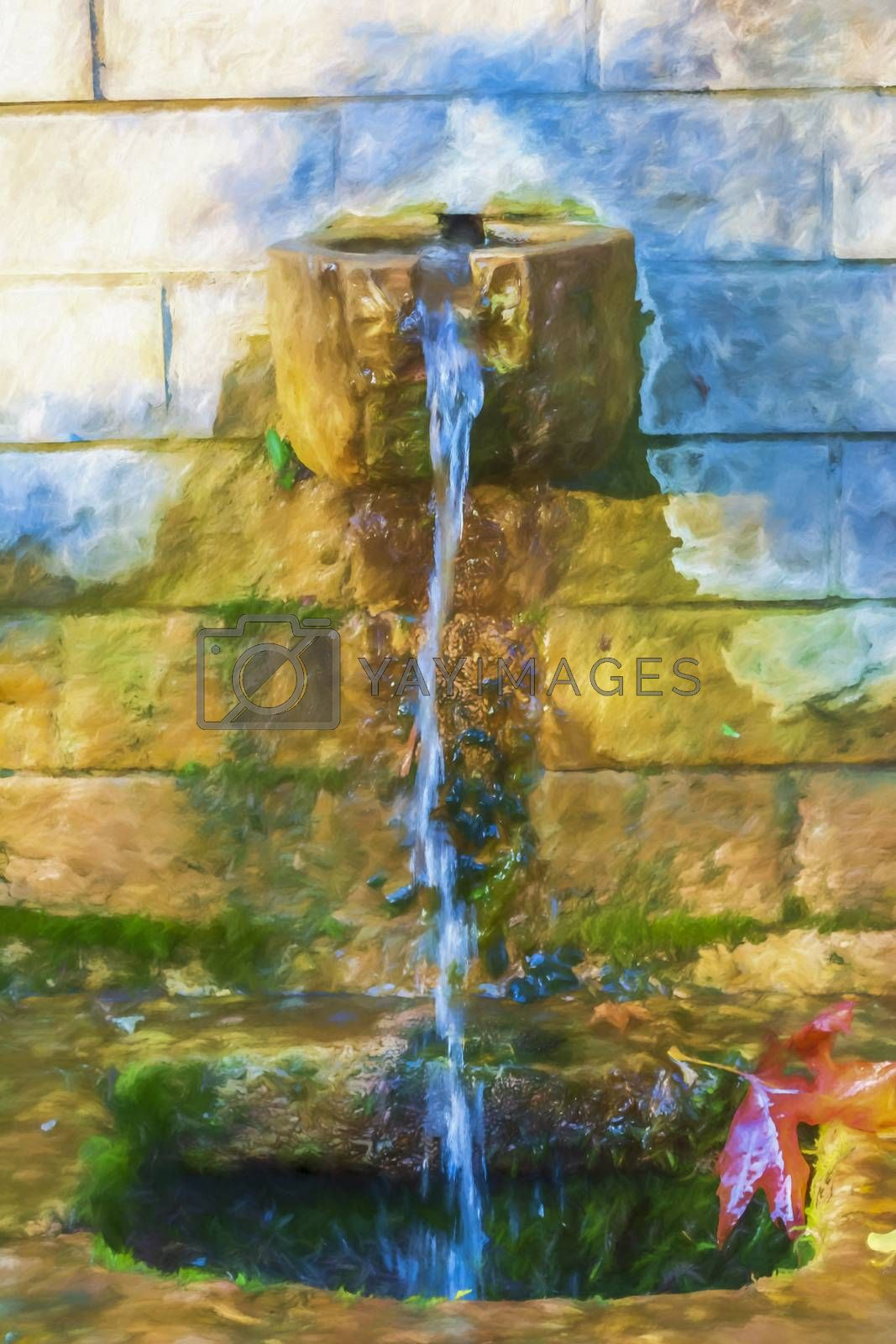 Fountain and leaf on stone wall - Digital paint