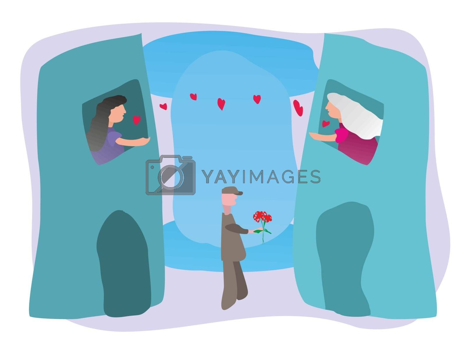 Mother's Day from a distance. Mother and daughter celebrating Mother's Day each from home. A delivery man brings the mother a bouquet of flowers. Distance love