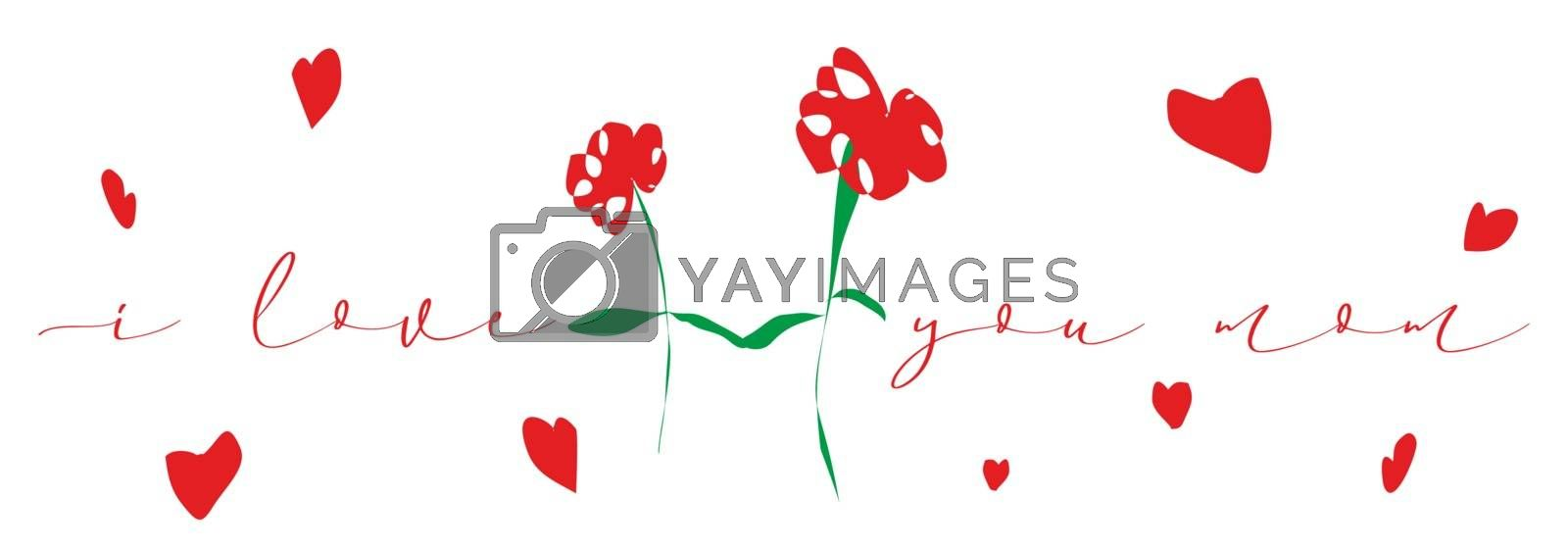 Two flowers surrounded by hearts and text that says Happy day mom