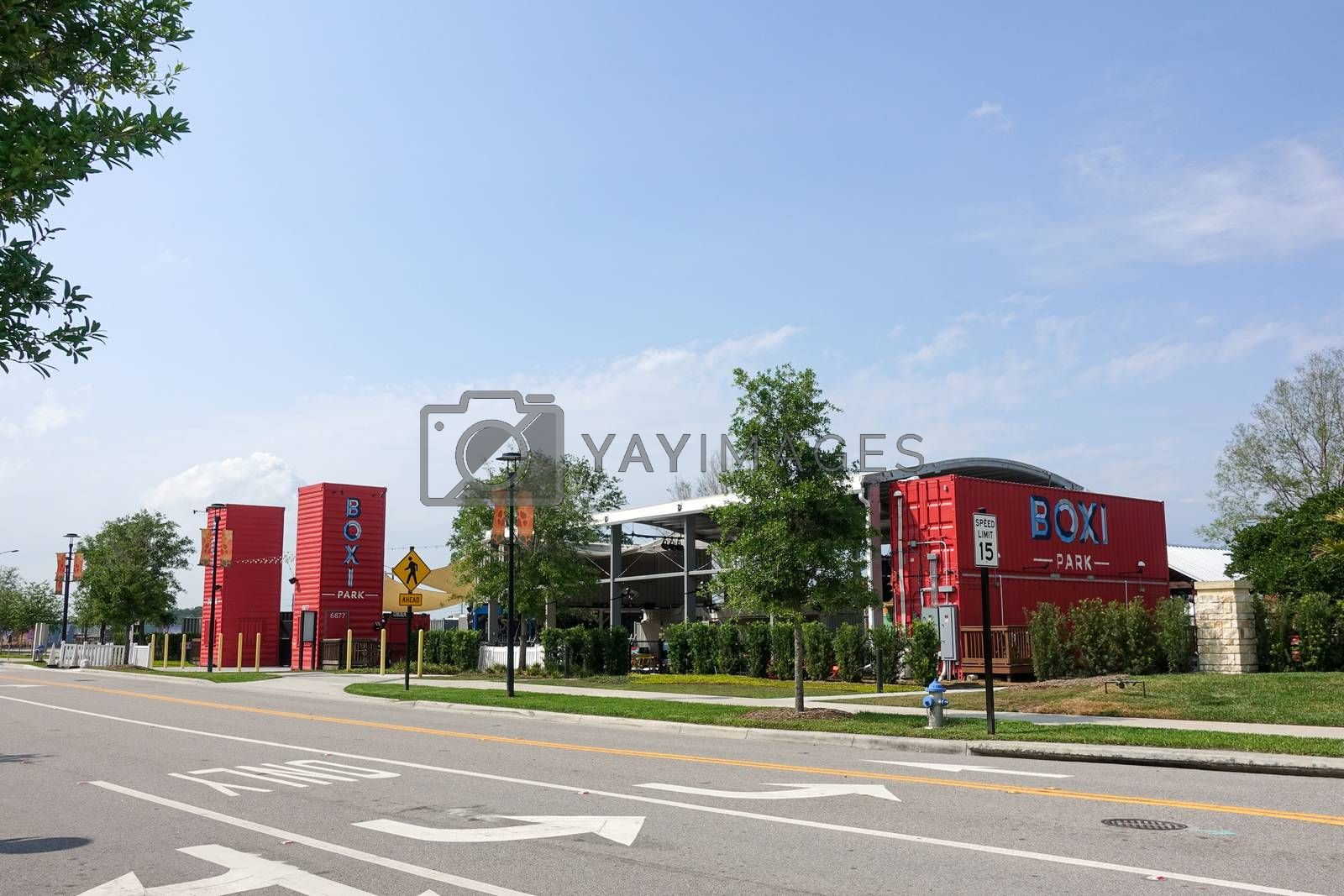 Orlando, FL/USA-4/10/20:  The exterior of Boxi Park a group of repurposed shipping containers that are grouped together to make up an outdoor restaurant, bar and entertainment venue in Lake Nona in Orlando, Florida.