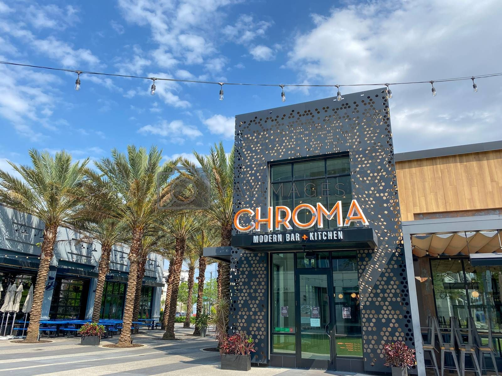 The exterior of the small plate modern restaurant and bar Chroma by Joni Hanebutt