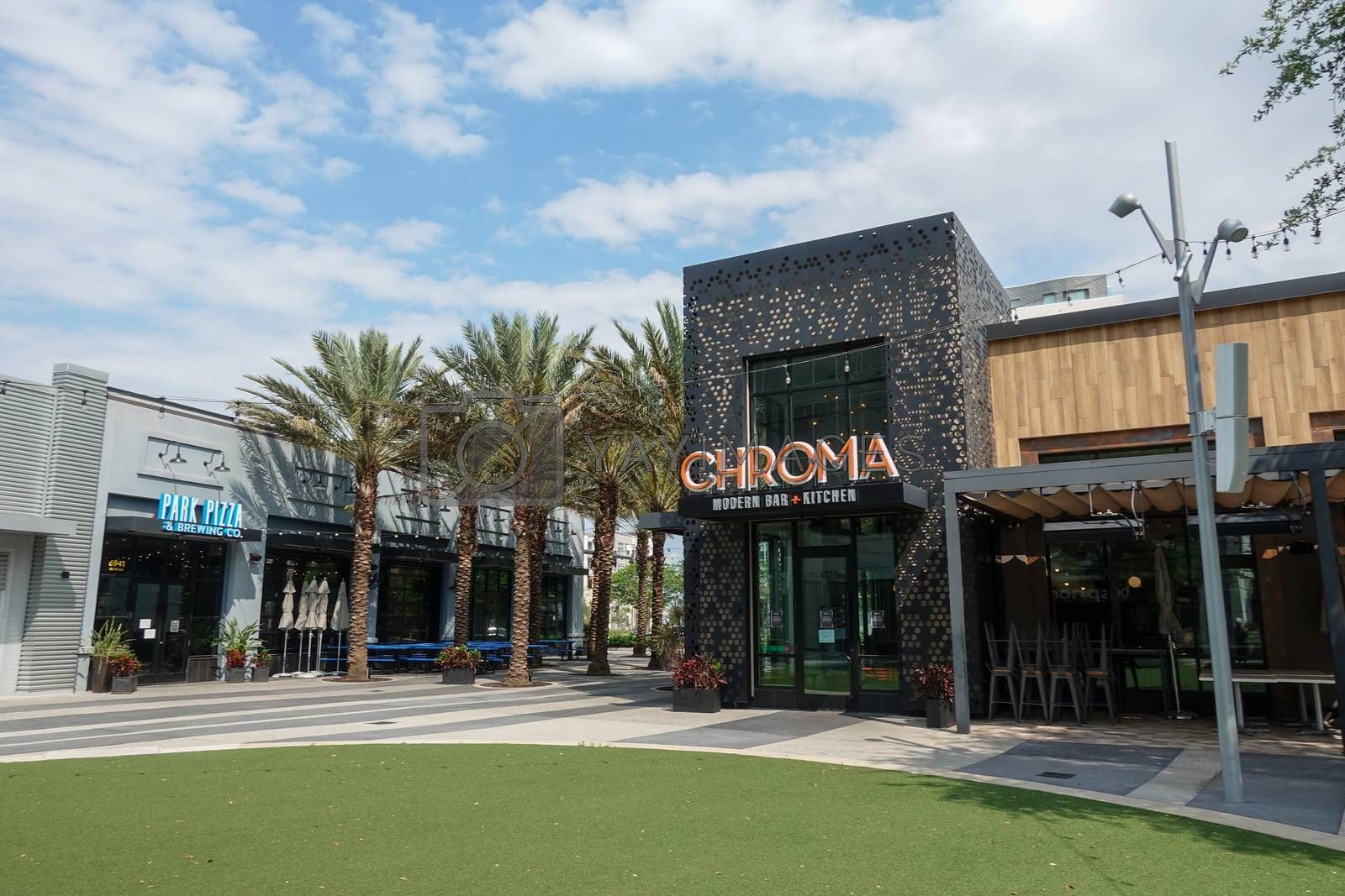 Orlando, FL/USA-4/11/20: The exterior of the small plate modern restaurant and bar Chroma in Laureate Park at Lake Nona in Orlando, FL USA.