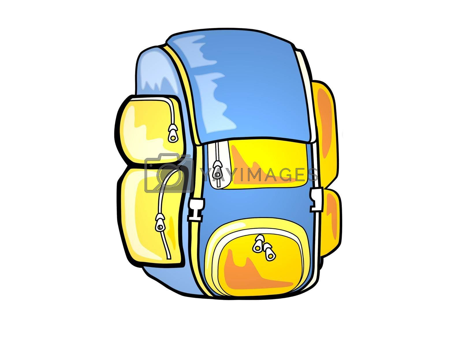 very nice orange and blue travel backpack on white background - 3d rendering