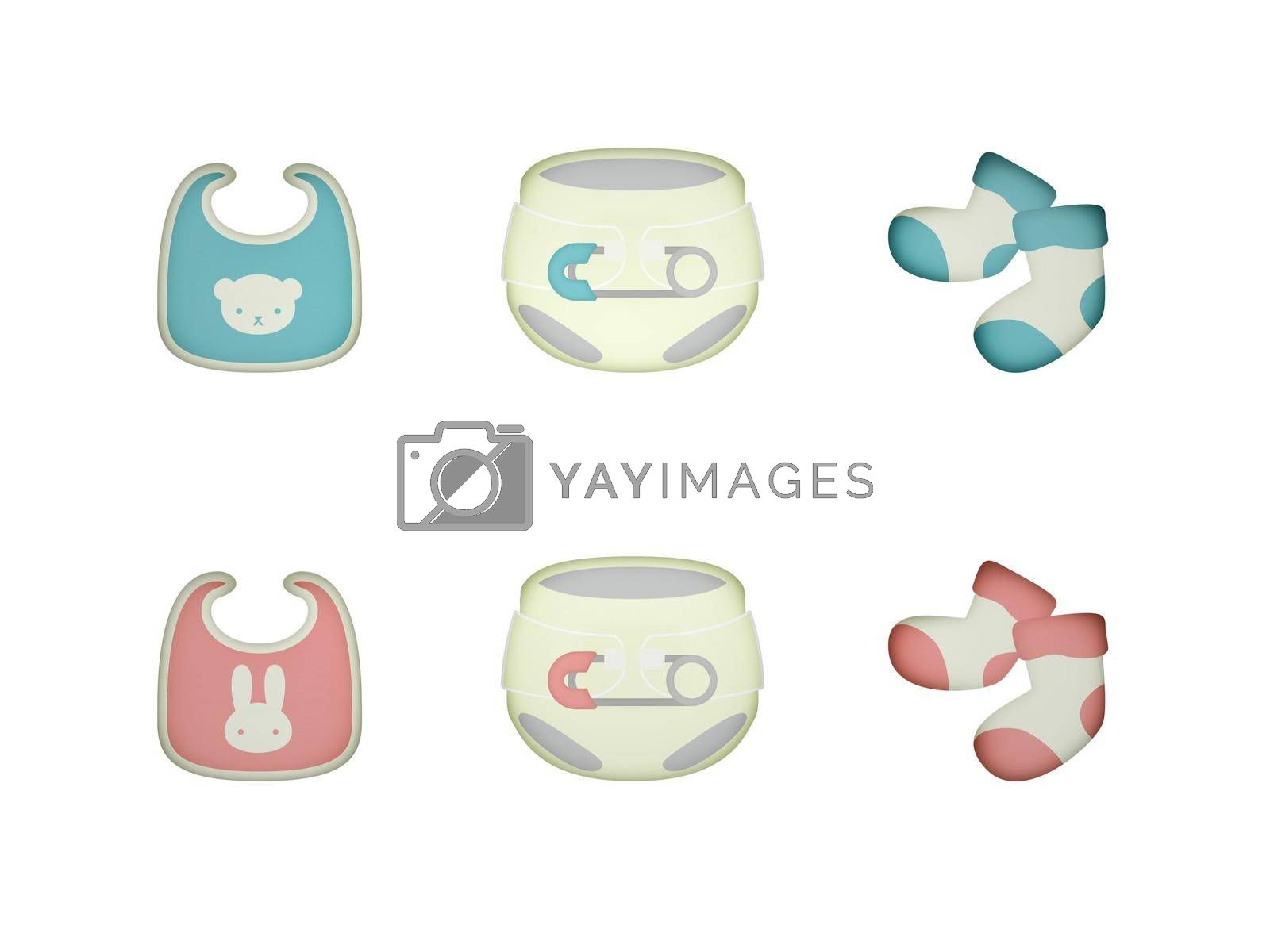 object for a girl and boy pink blue birth on a white background - 3d rendering