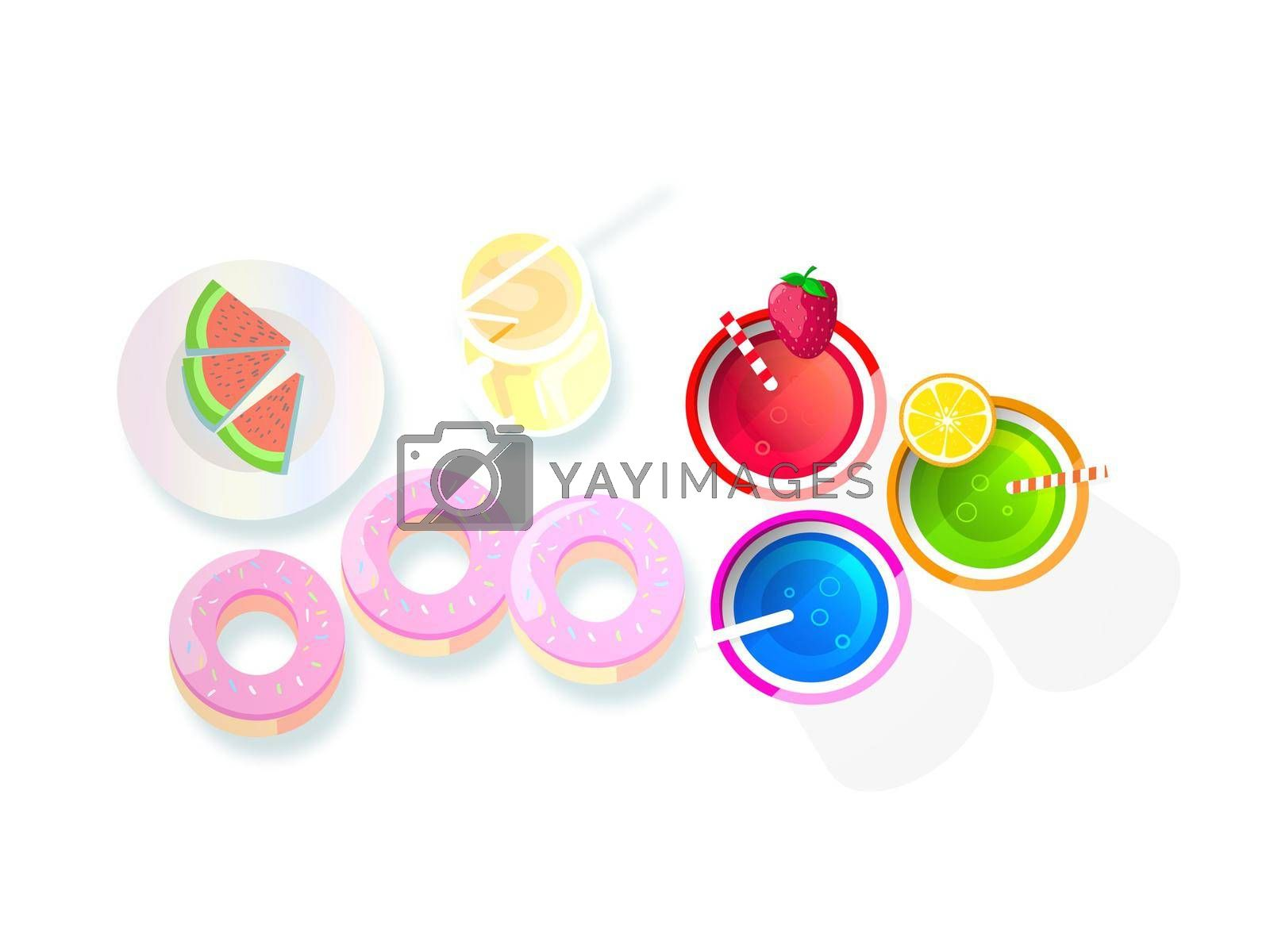 very nice colors cake and drink on white background - 3d rendering