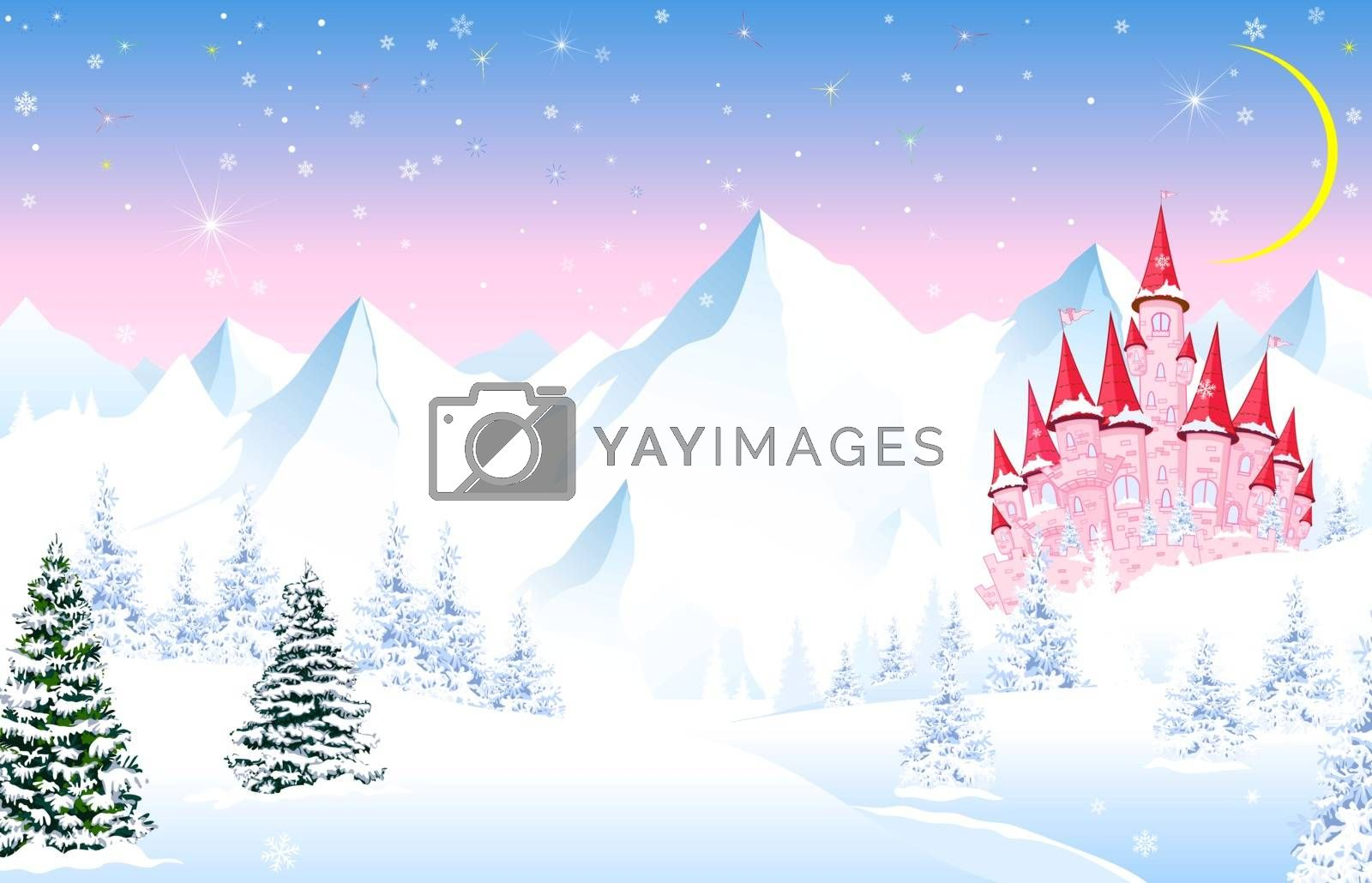 Fairy tale castle on a background of a winter forest and snowy mountains by liolle