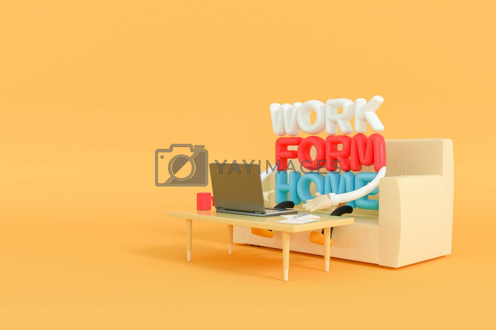 3d illustrator of the Characters who work at home run and with the computer notebook on the sofa
