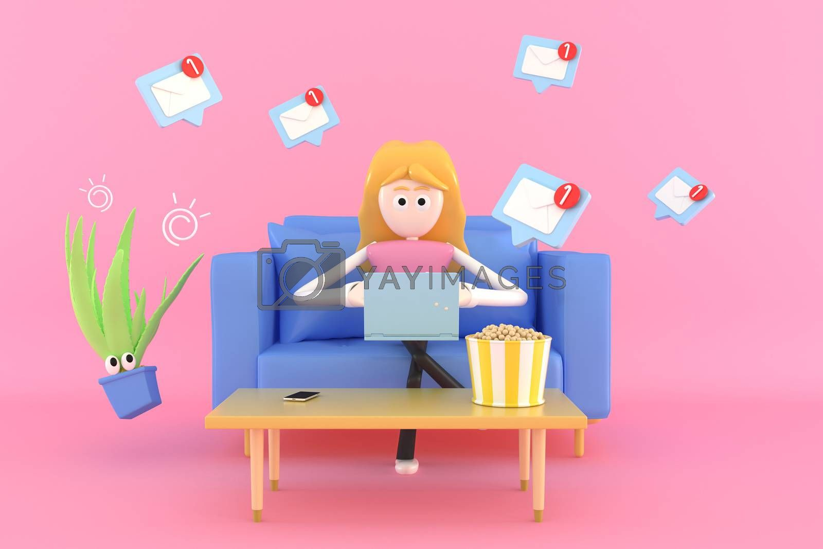 A woman sitting and working at home on her sofa using a notebook computer.  3d illustrator.