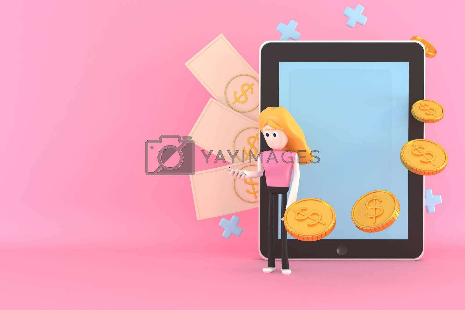 A woman uses a mobile phone and a tablet to make money. 3d illustrator.