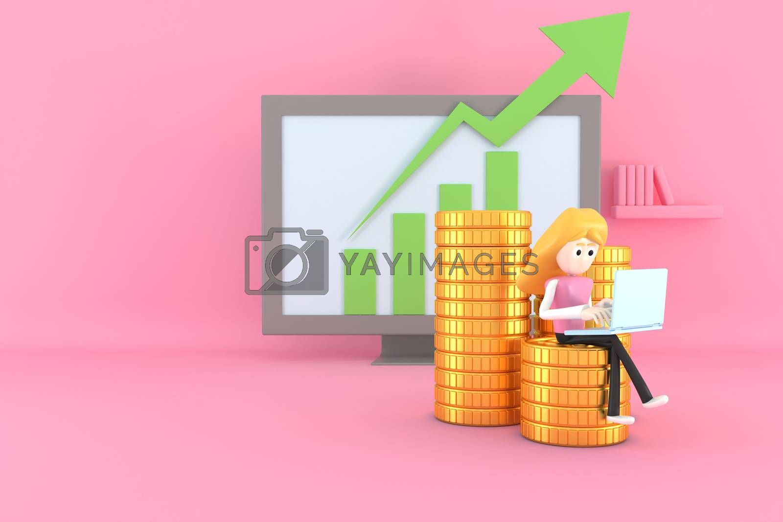 A woman uses a notebook computer. Work on finance. 3d illustrator.