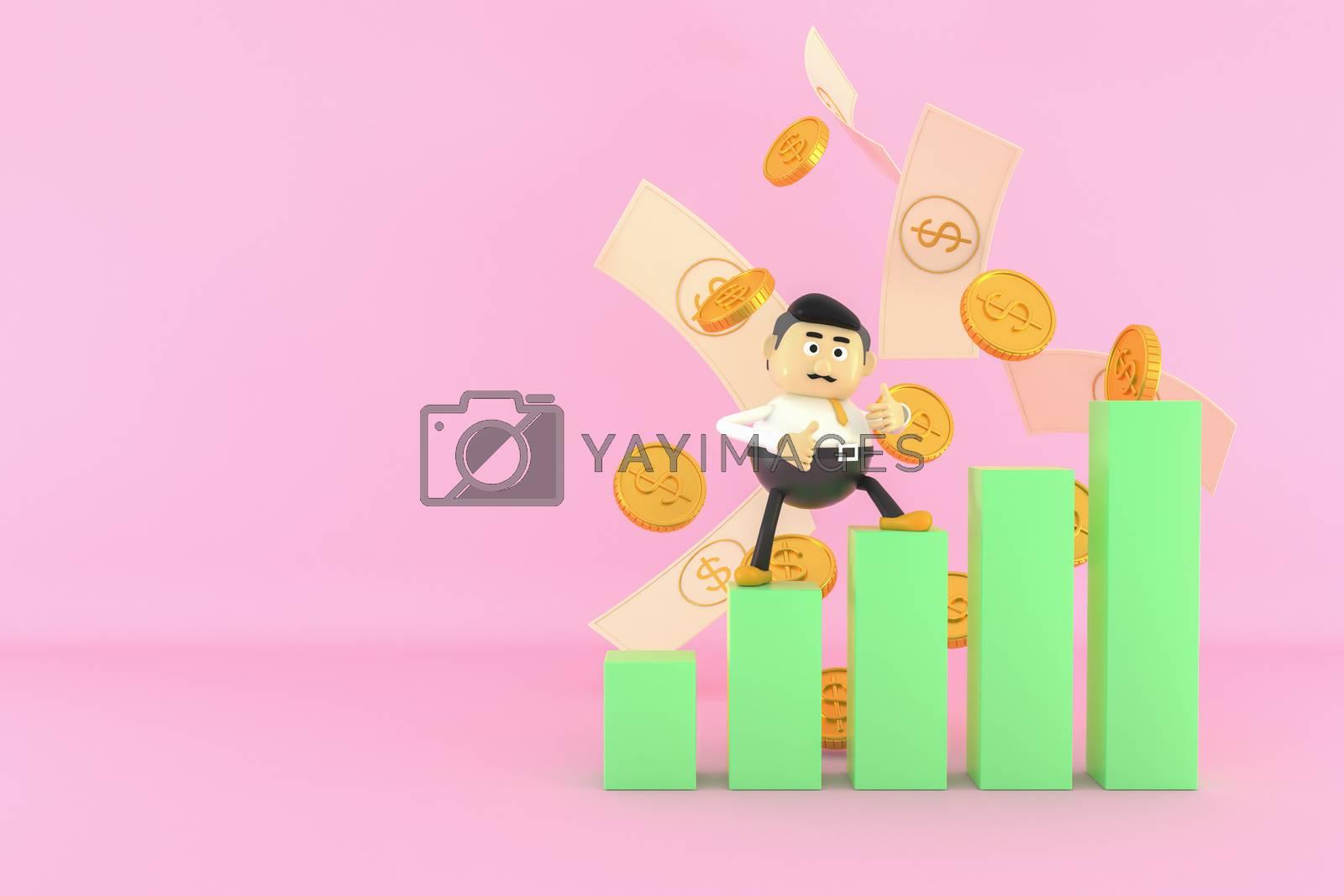A man is a financial businessman. 3d illustrator.