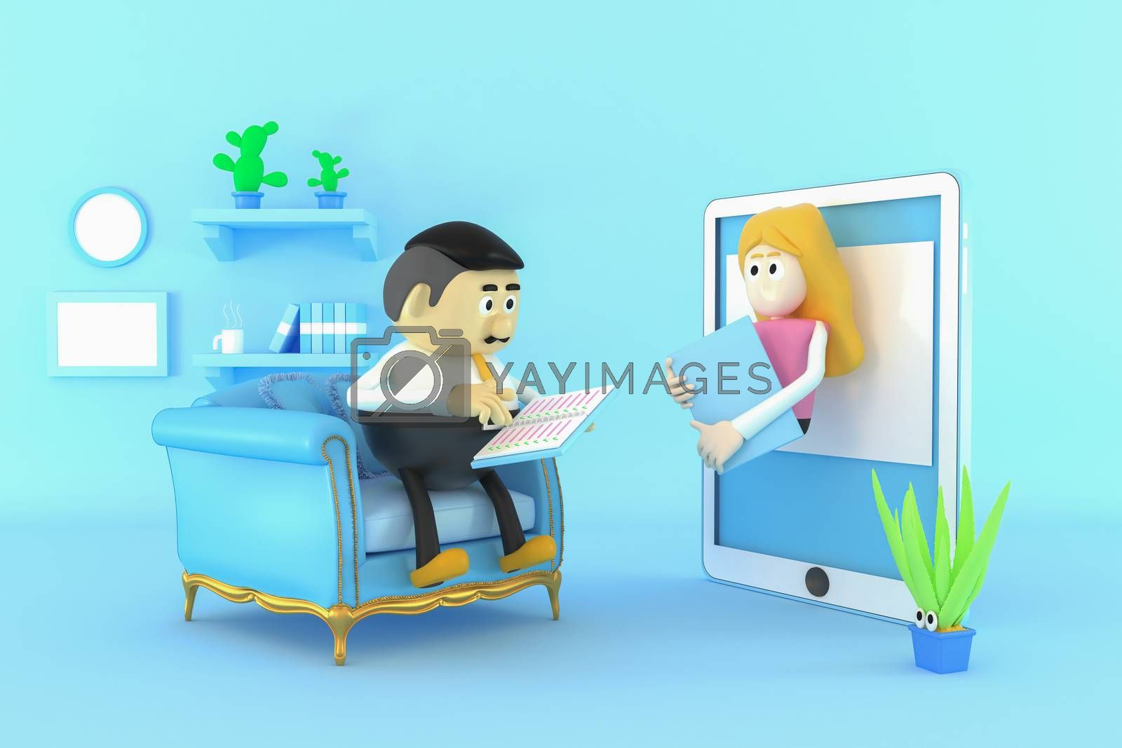 Operation and communication via the internet and communication equipment.  3d illustrator.