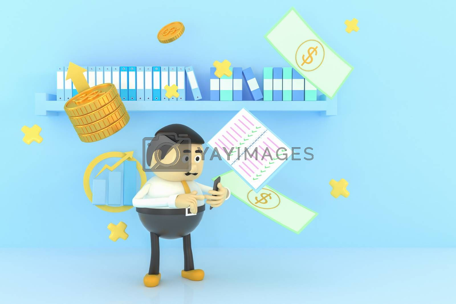 A man uses a mobile phone to work and make money. 3d illustrator.
