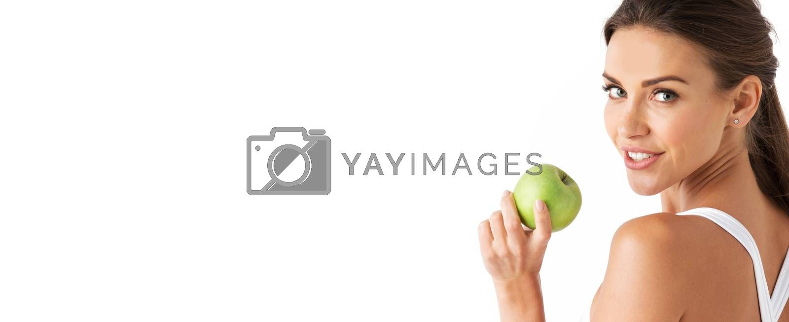 Woman with apple isolated on white by Yellowj