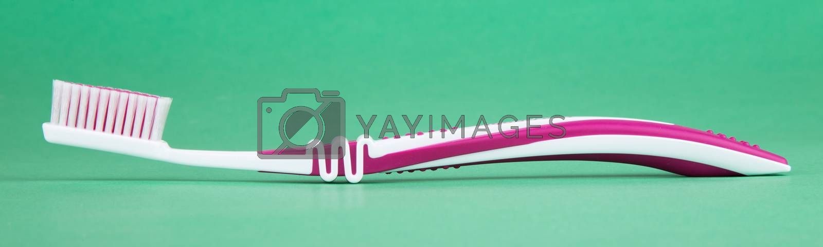 tooth brush isolated on a green background