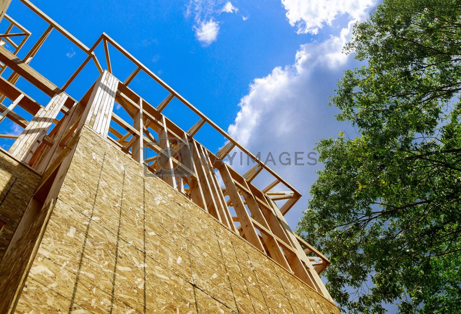 Wood home framing a house condominium under construction