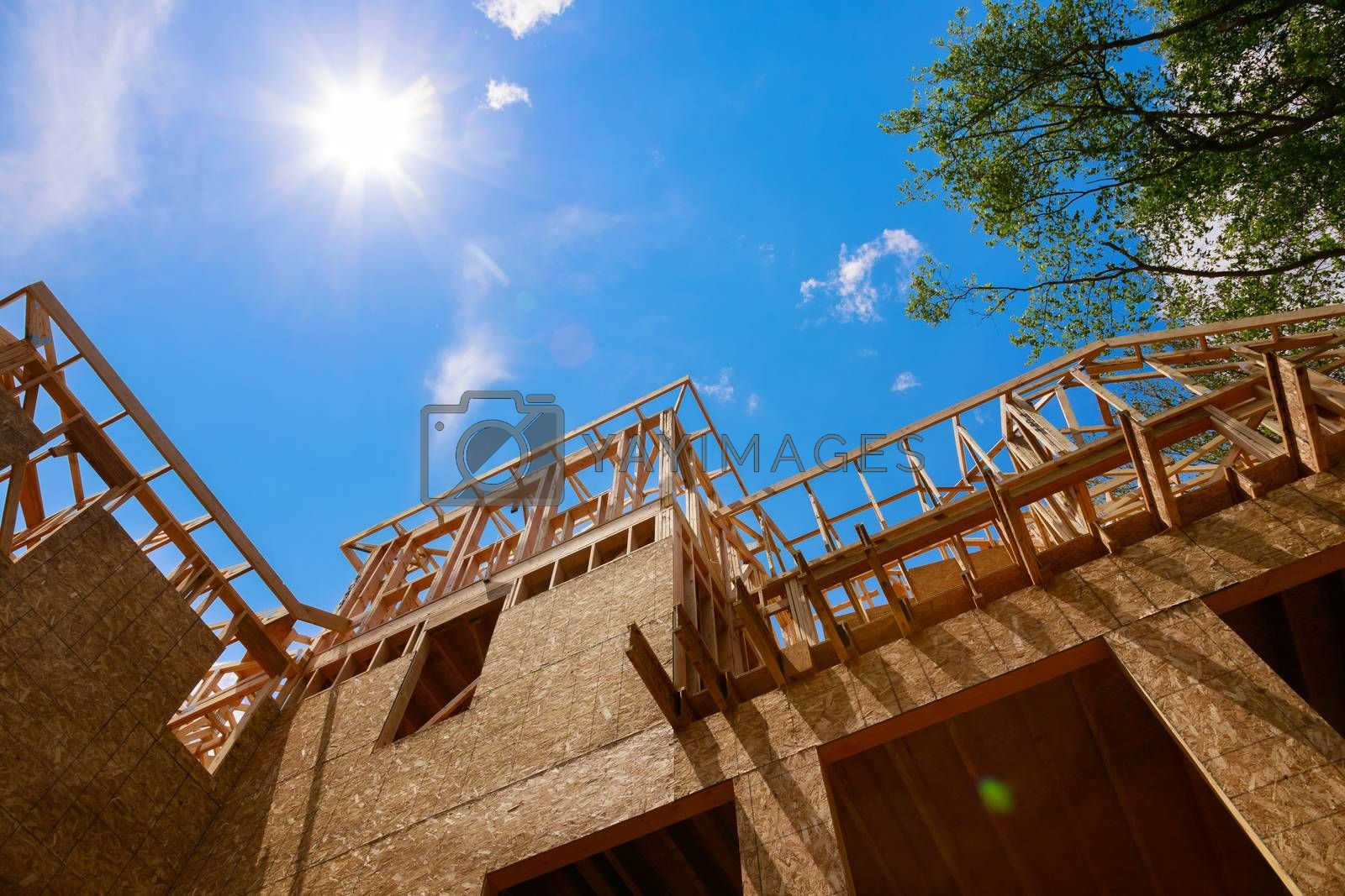 Roof structure of home framing a single family under construction