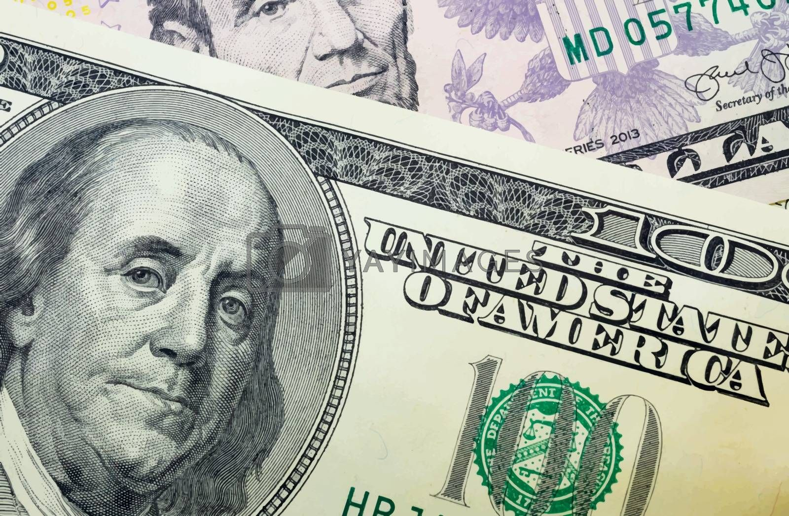 close up US dollar banknotes on background.