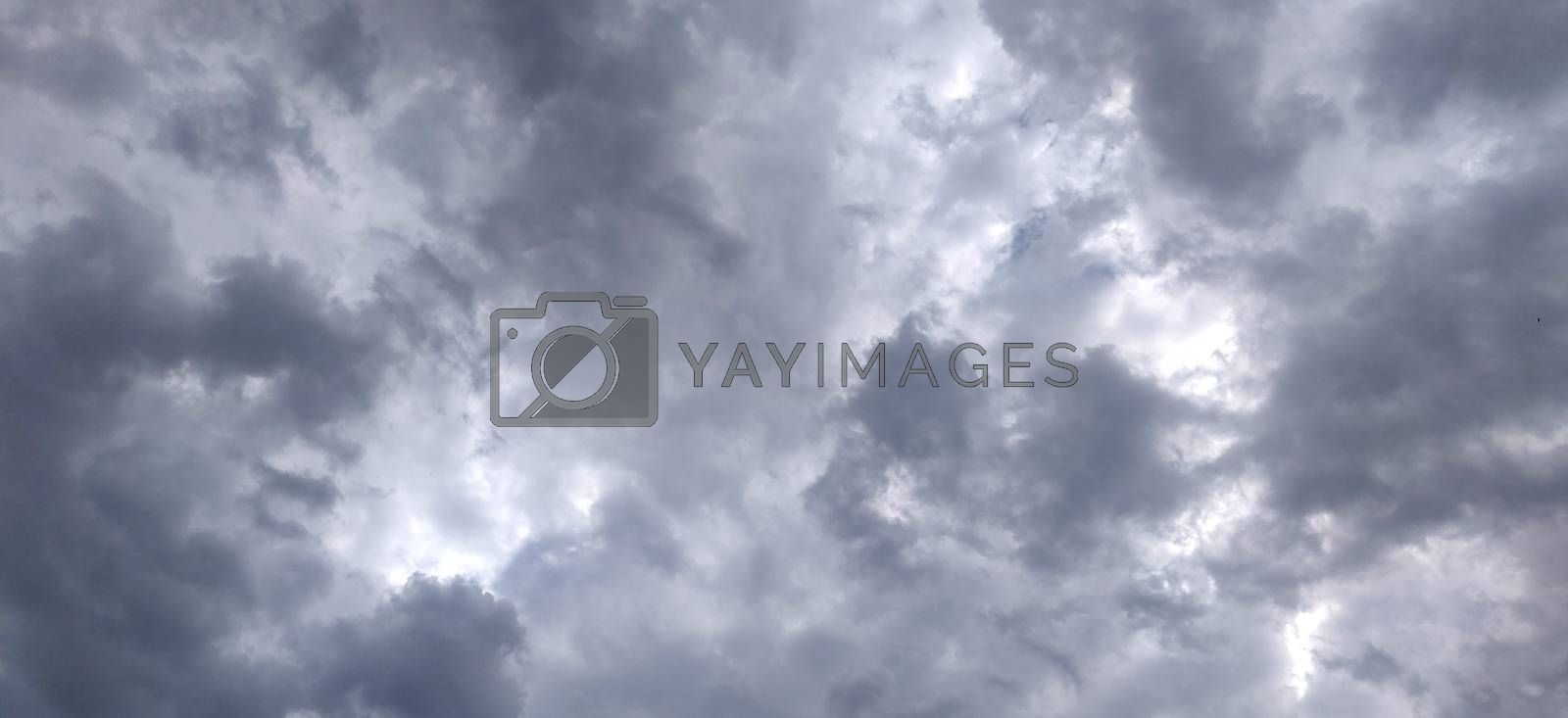 Blue sky and Puffy fluffy oxygen clouds in summer of India
