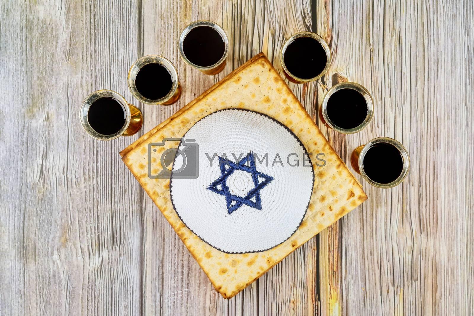Passover Haggadah a matzo jewish holiday six cup kosher red wine