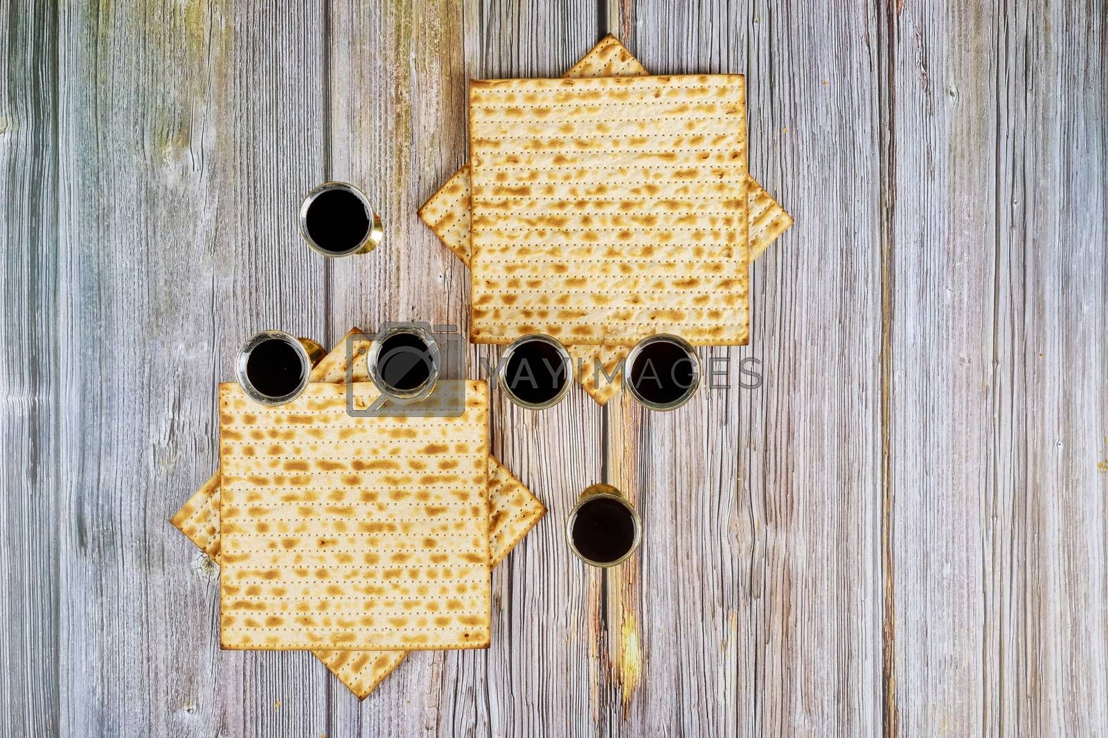 Passover six cup wine and matzoh jewish holiday bread traditional Pesach day