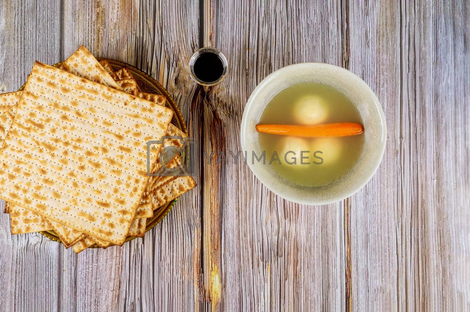 Jewish symbols passover pesach holiday delicious matzoh ball soup with matzah
