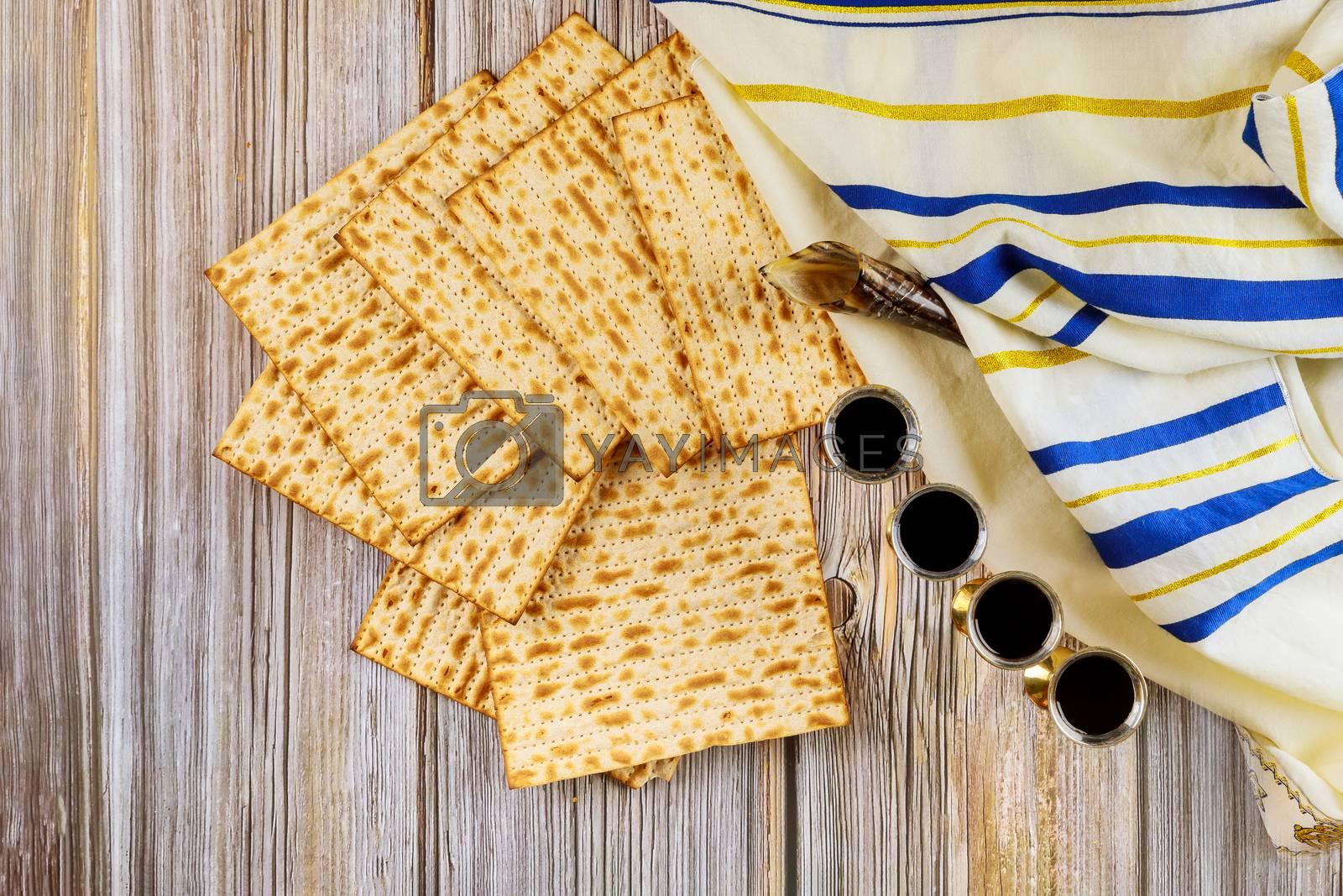 Judaism and religious torah on jewish matza on passover prayer