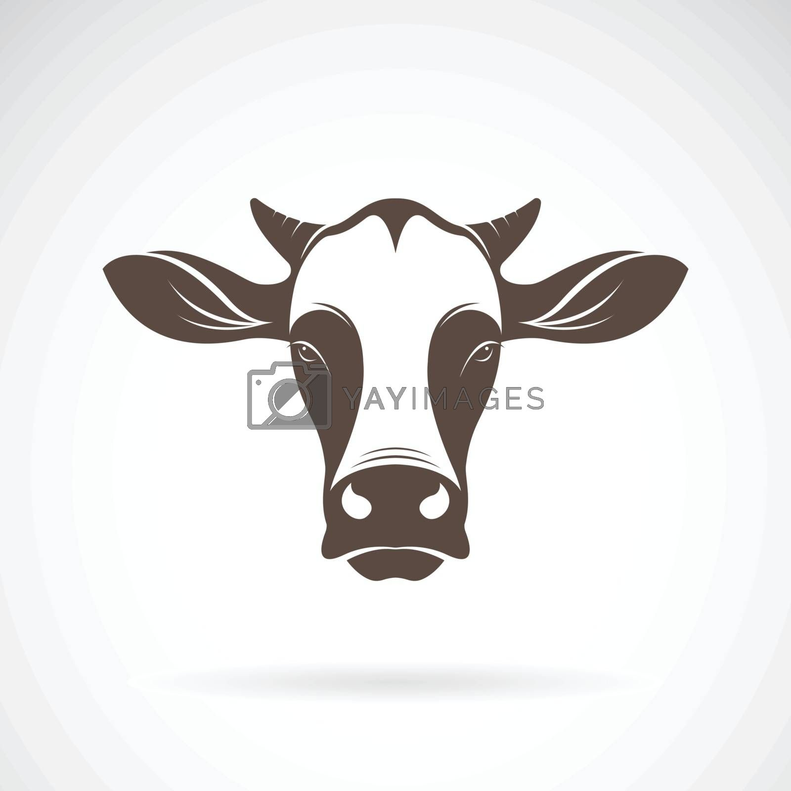 Vector of a cow head design on white background. Farm Animal. Cows logos or icons. Easy editable layered vector illustration.
