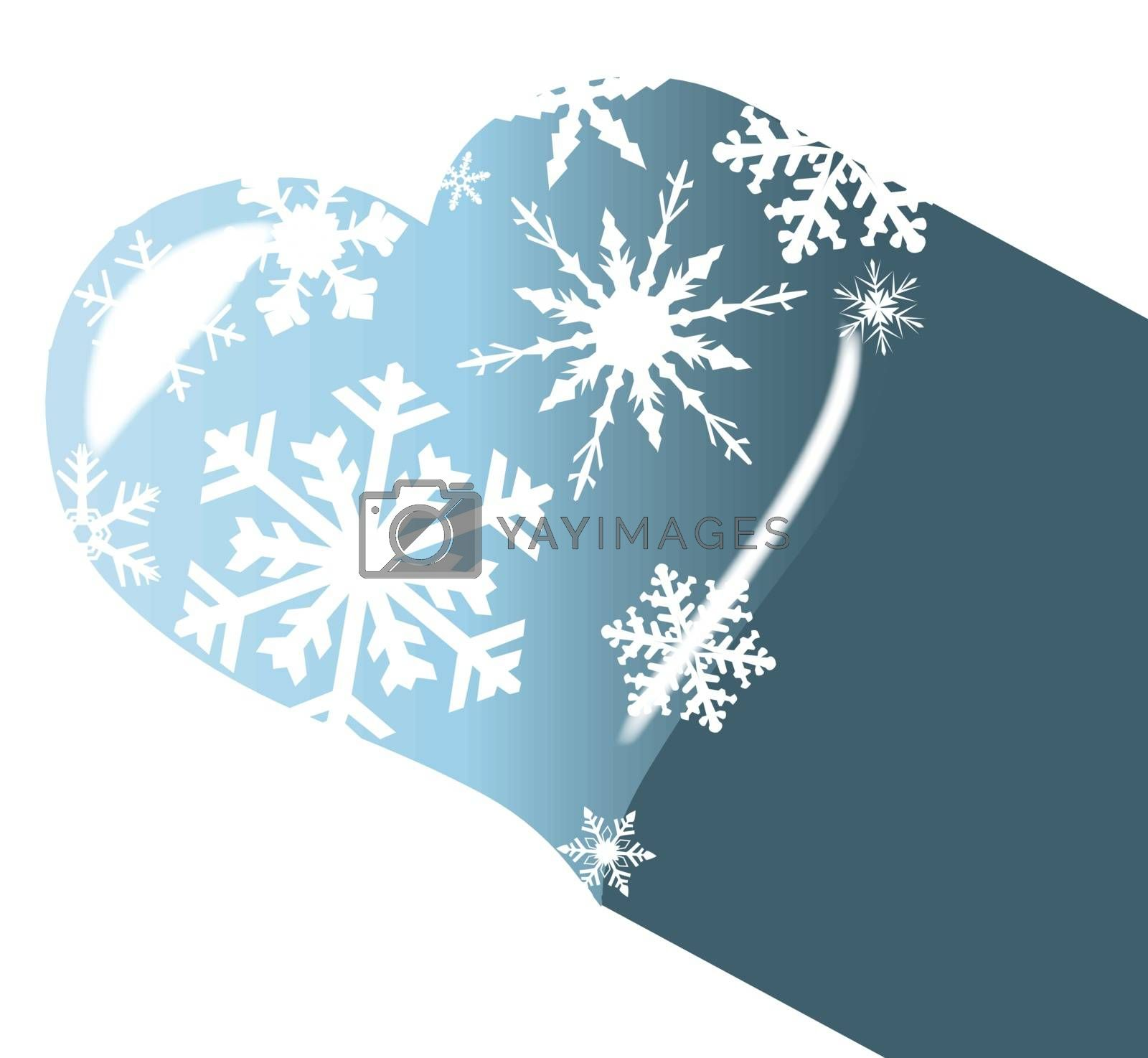 A cold winter heart with snowflakes and shadowover a white background