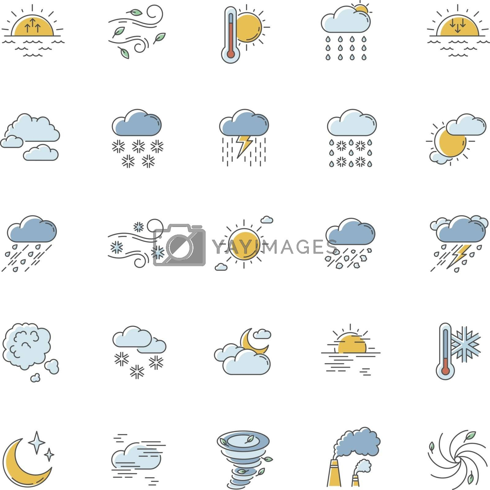 Weather RGB color icons set. Meteorology. Sky condition prediction. Temperature, wind and atmospheric precipitation forecasting. Isolated vector illustrations