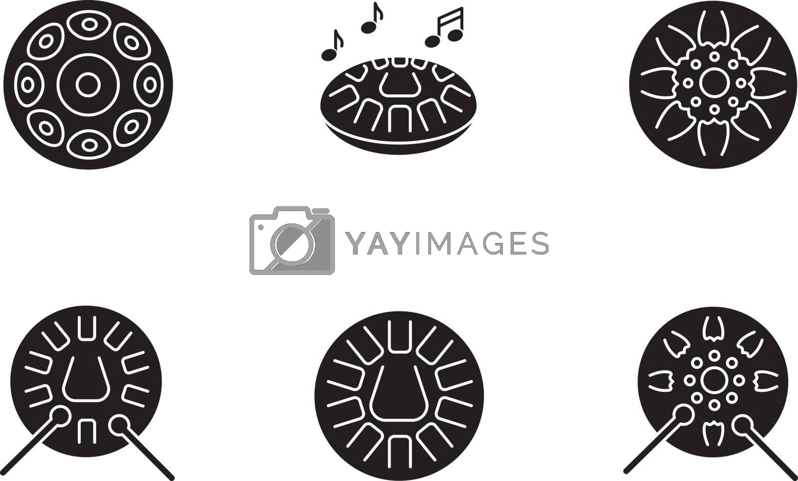 Ornamental handpan black glyph icons set on white space. Traditional musical instrument for relaxation beats. Play in band with steelpan percussion. Silhouette symbols. Vector isolated illustration
