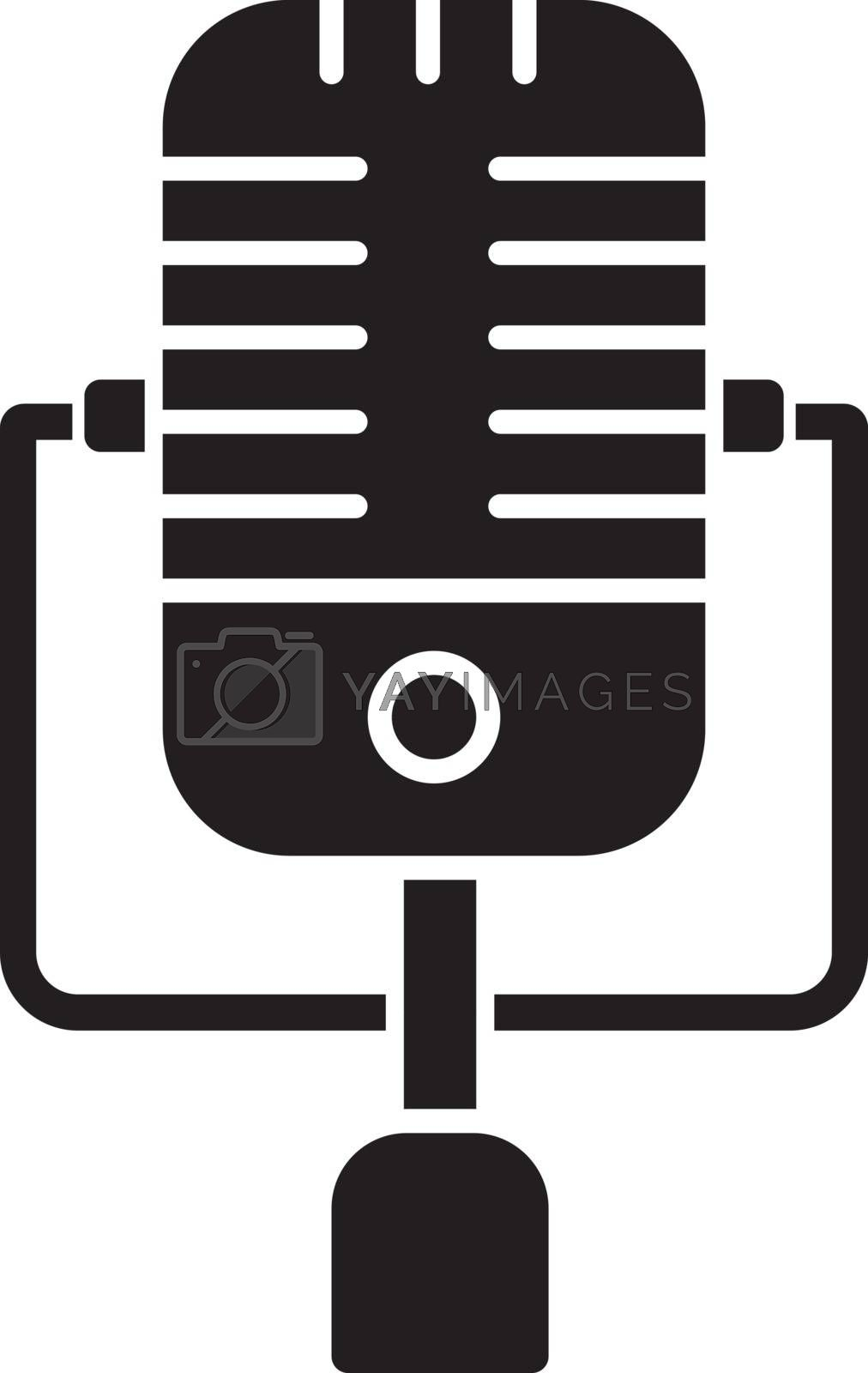 Vintage microphone black glyph icon. Mic to perform live on stage. Musical concert. Announcement on radio. Karaoke and entertainment. Silhouette symbol on white space. Vector isolated illustration