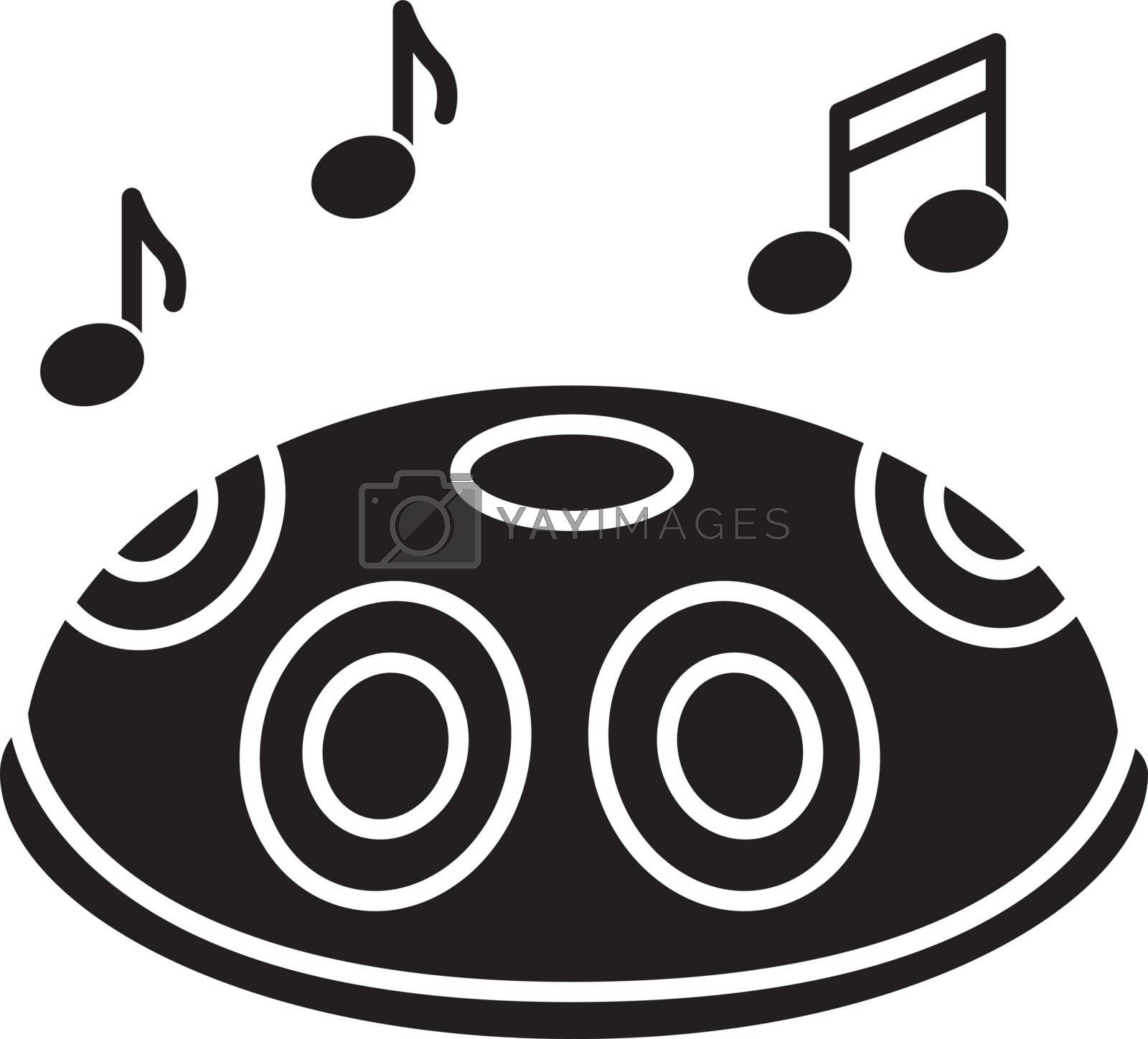 Handpan black glyph icon. Traditional musical instrument for meditation and relaxation. Perform in band with percussion. Silhouette symbol on white space. Vector isolated illustration