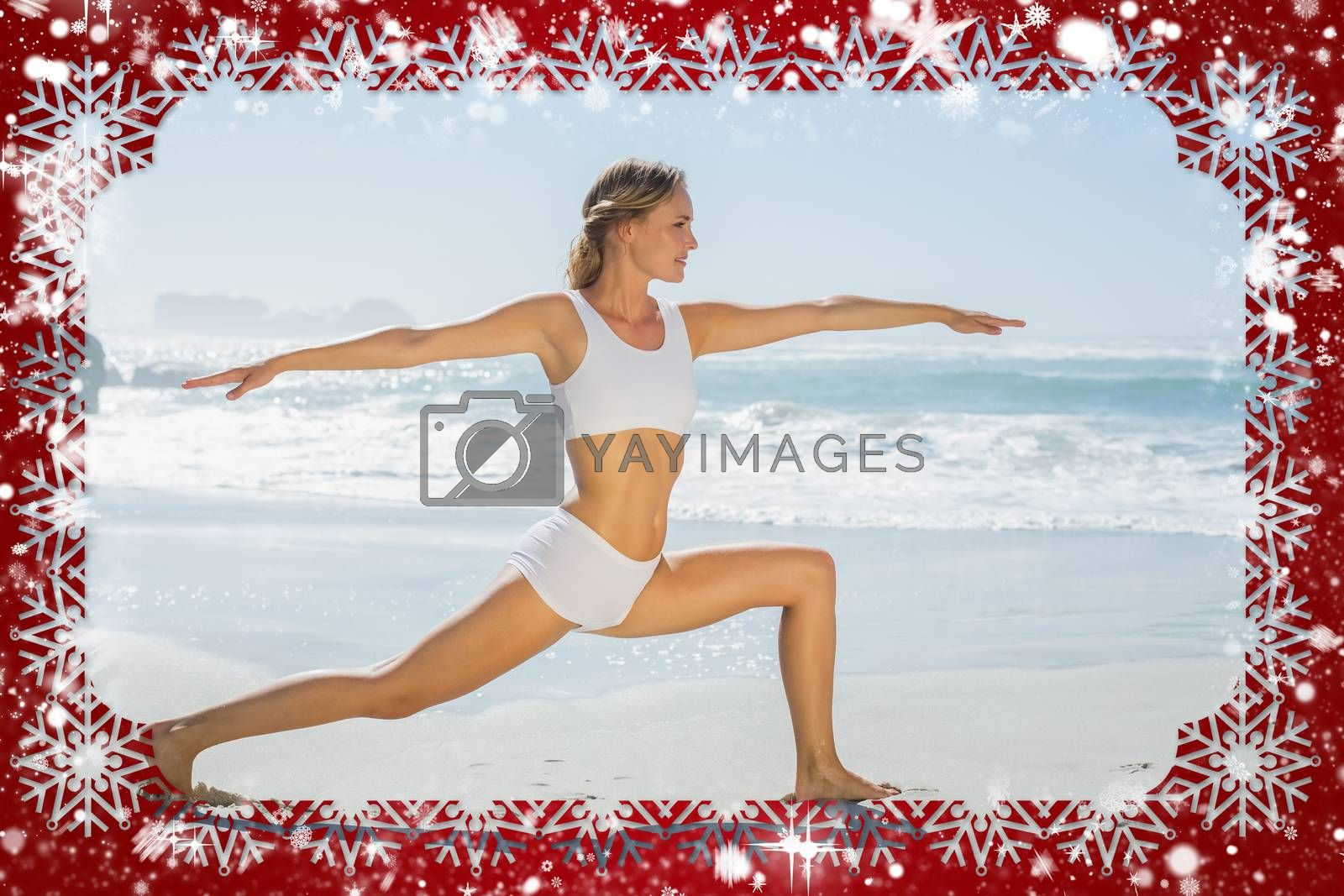 Gorgeous blonde in warrior pose by the sea against snow