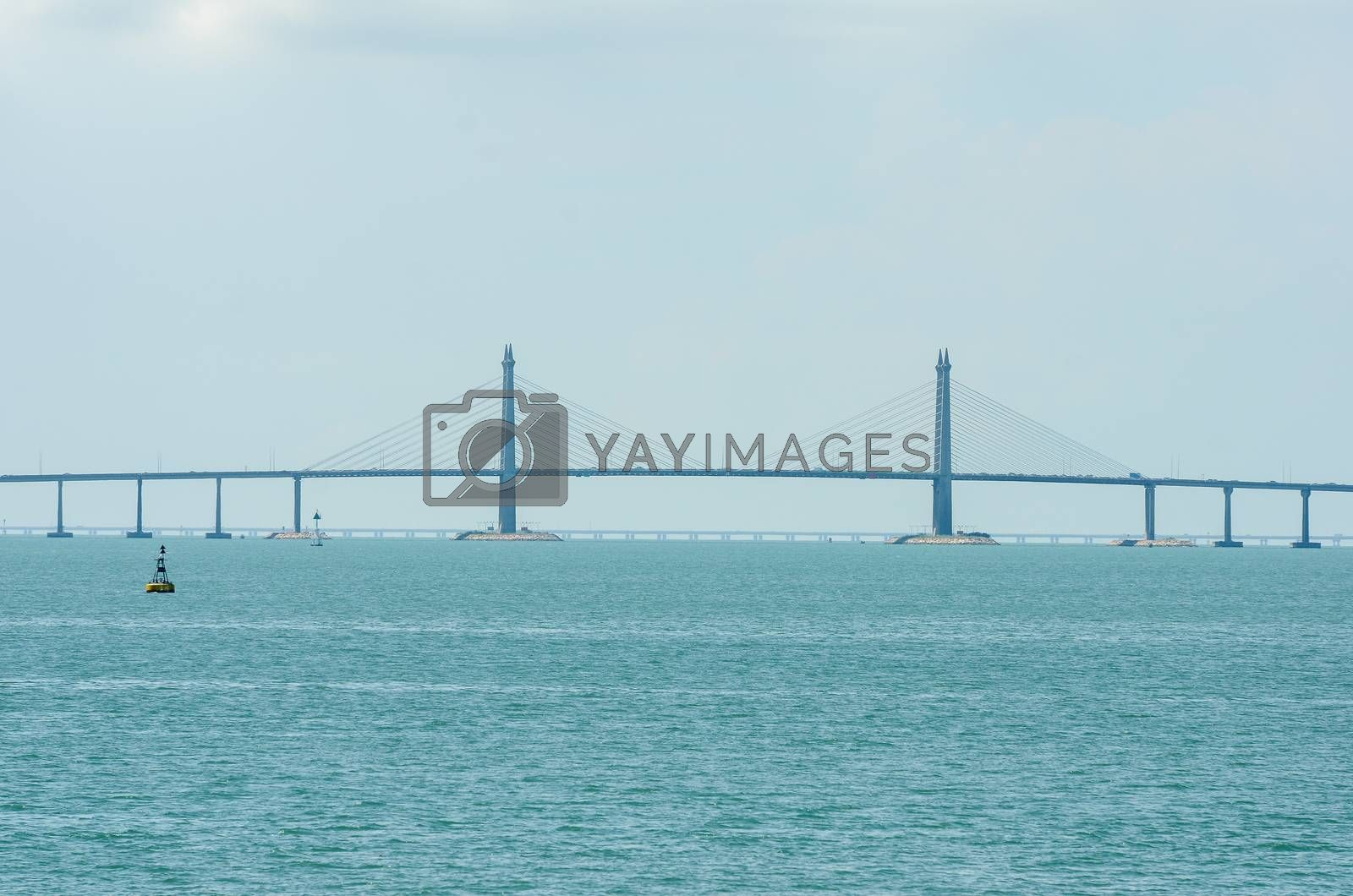 Main Span Stayed Cable of Penang Bridge, Malaysia in blue weather.