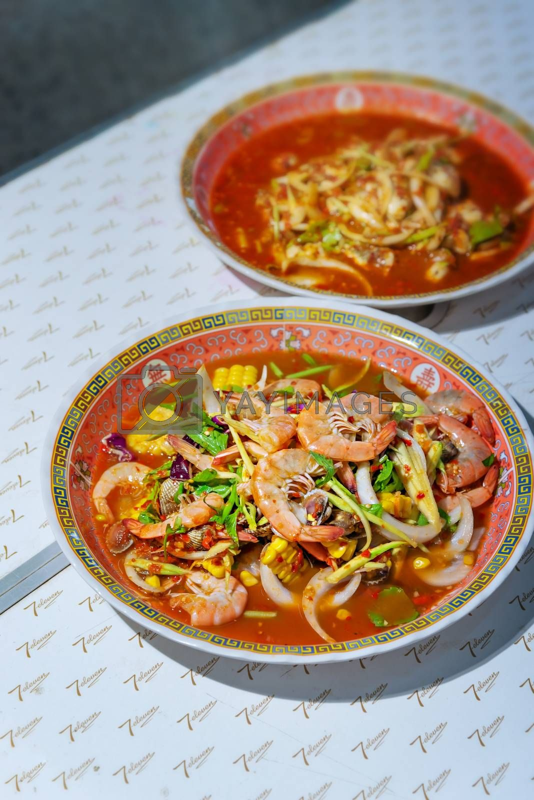 spicy salad , shrimp and mix vegetable , asian food