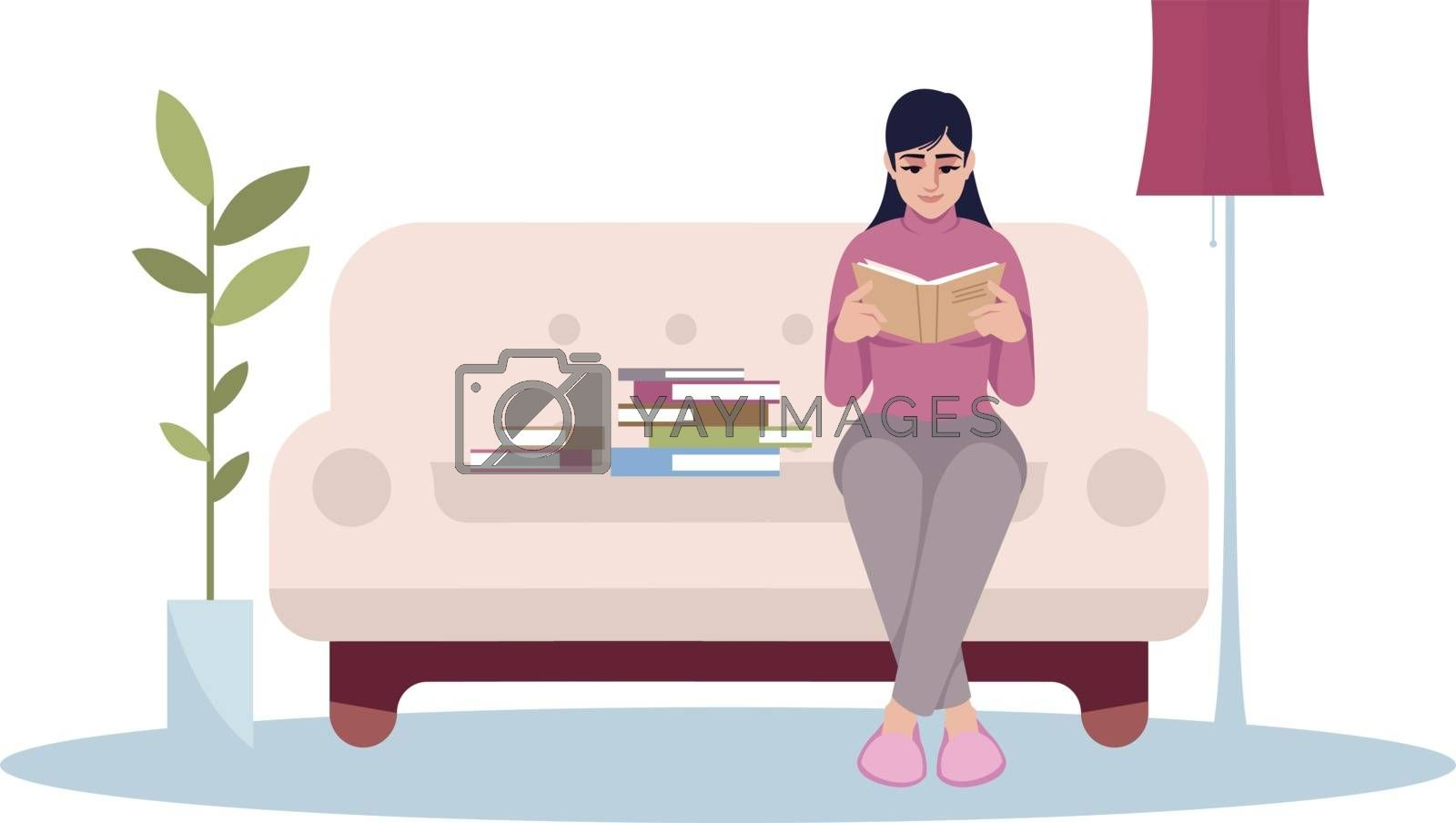 Woman reading book semi flat RGB color vector illustration. Female sit on couch with magazine. Lifestyle and hobby. Home activity for leisure. Reader isolated cartoon character on white background