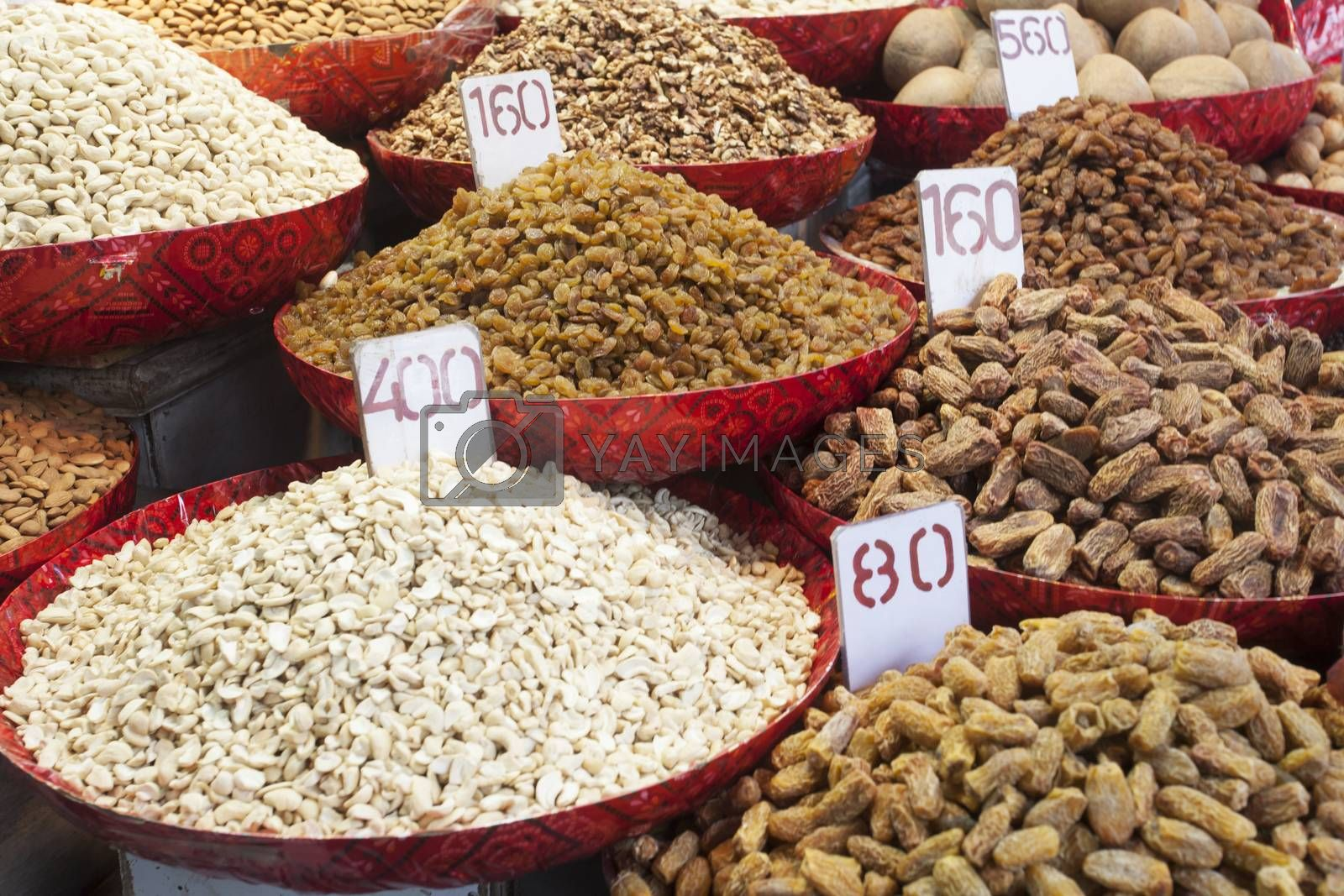nuts on a market in india by bernjuer