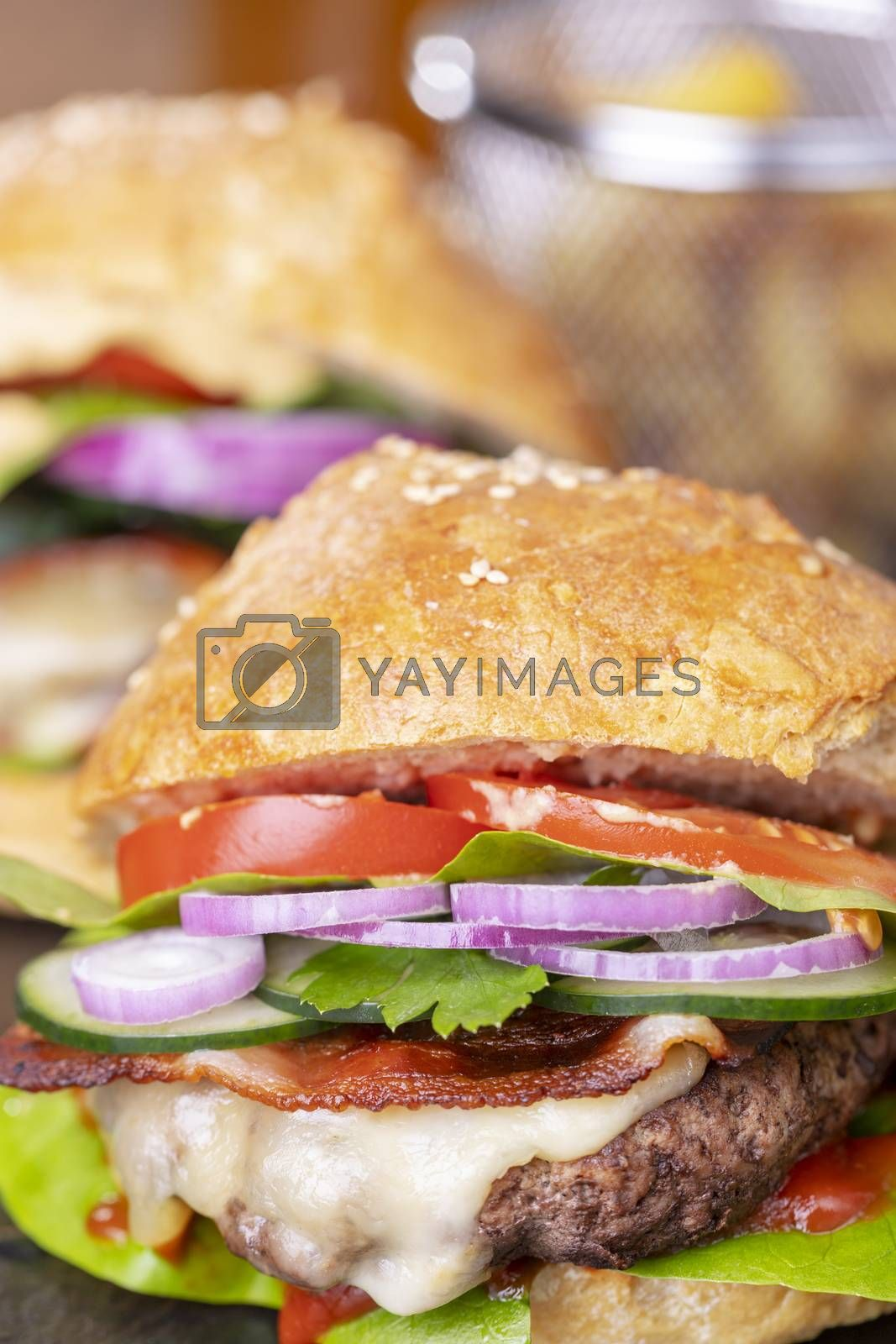 home made hamburger with french fries by bernjuer
